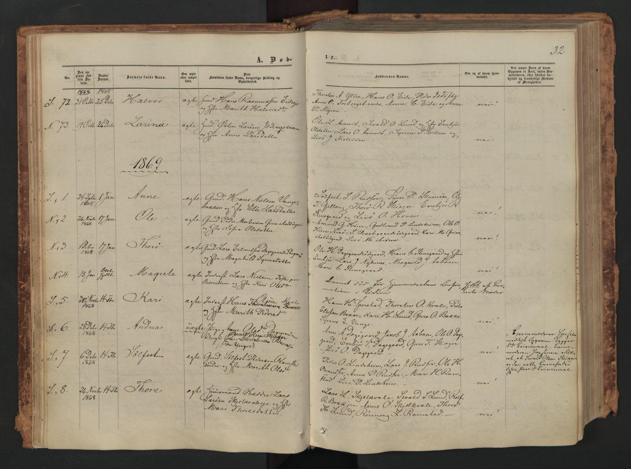 SAH, Skjåk prestekontor, Ministerialbok nr. 1, 1863-1879, s. 32