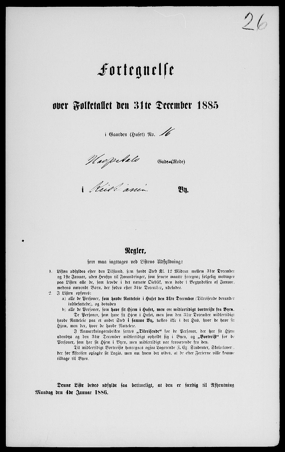RA, Folketelling 1885 for 0301 Kristiania kjøpstad, 1885, s. 1560