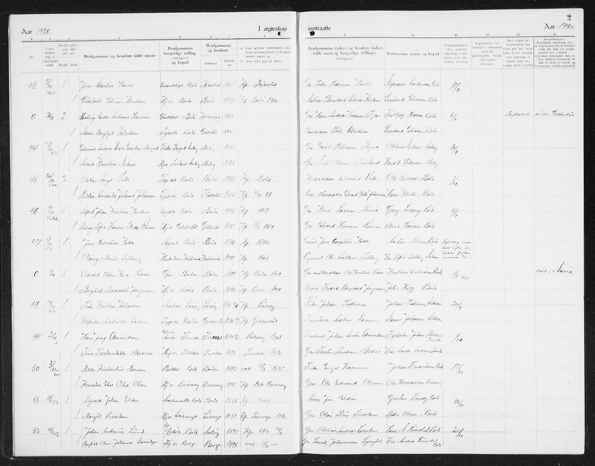 SAT, Ministerialprotokoller, klokkerbøker og fødselsregistre - Nordland, 801/L0036: Klokkerbok nr. 801C11, 1920-1934, s. 2
