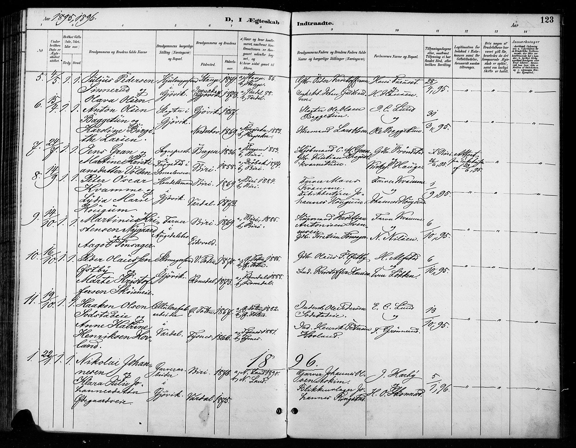 SAH, Vardal prestekontor, H/Ha/Haa/L0011: Ministerialbok nr. 11, 1891-1901, s. 123