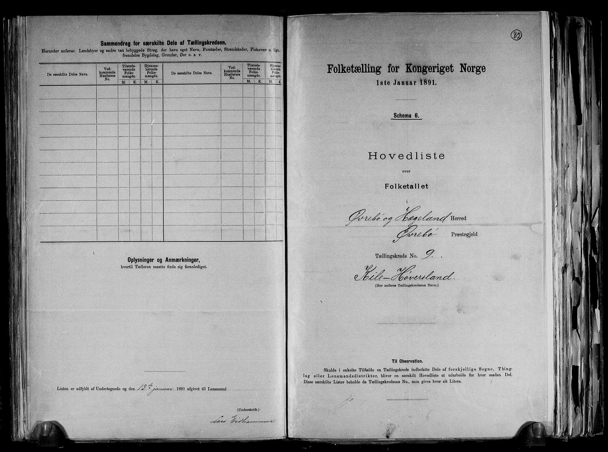 RA, Folketelling 1891 for 1016 Øvrebø og Hægeland herred, 1891, s. 22