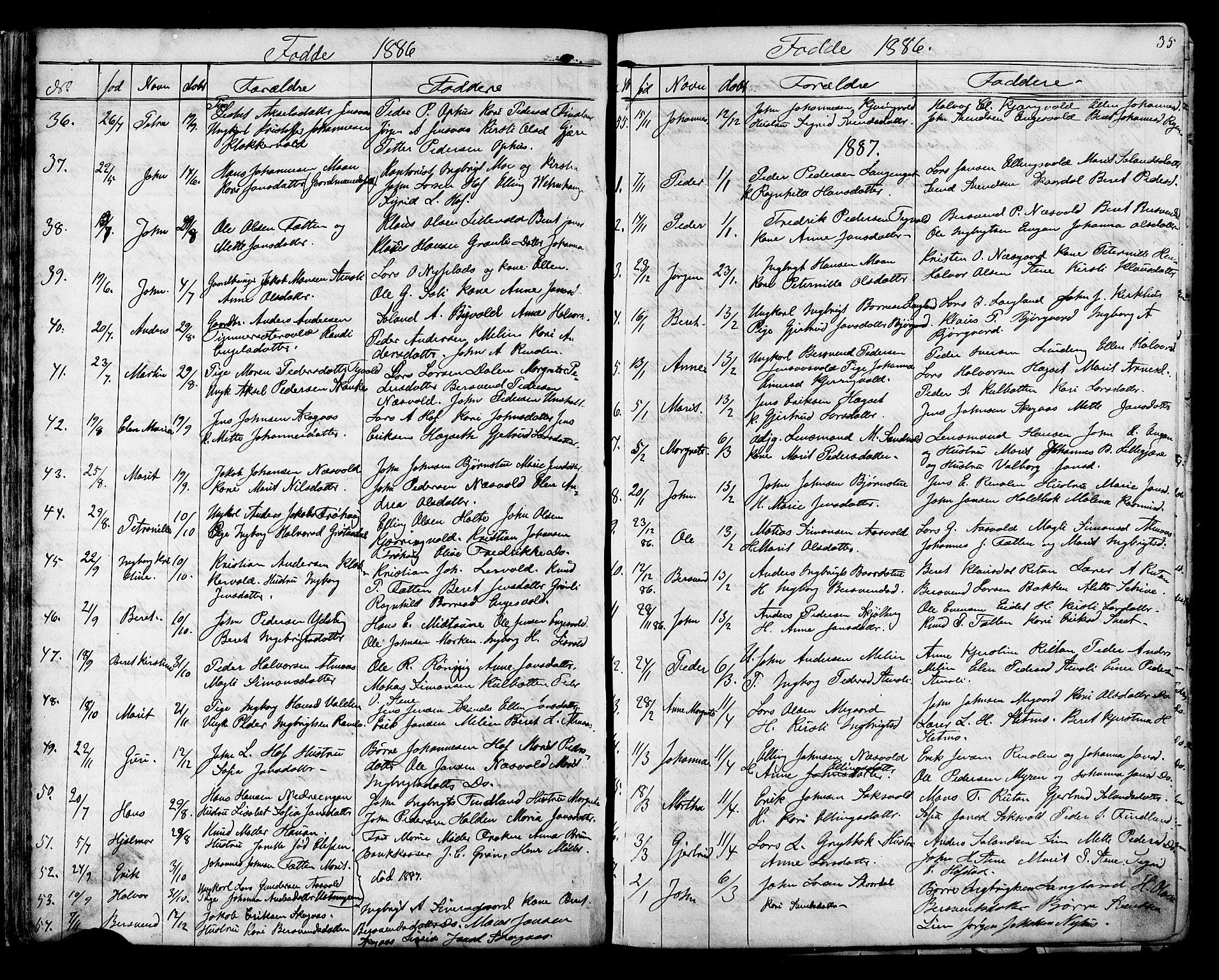 SAT, Ministerialprotokoller, klokkerbøker og fødselsregistre - Sør-Trøndelag, 686/L0985: Klokkerbok nr. 686C01, 1871-1933, s. 35