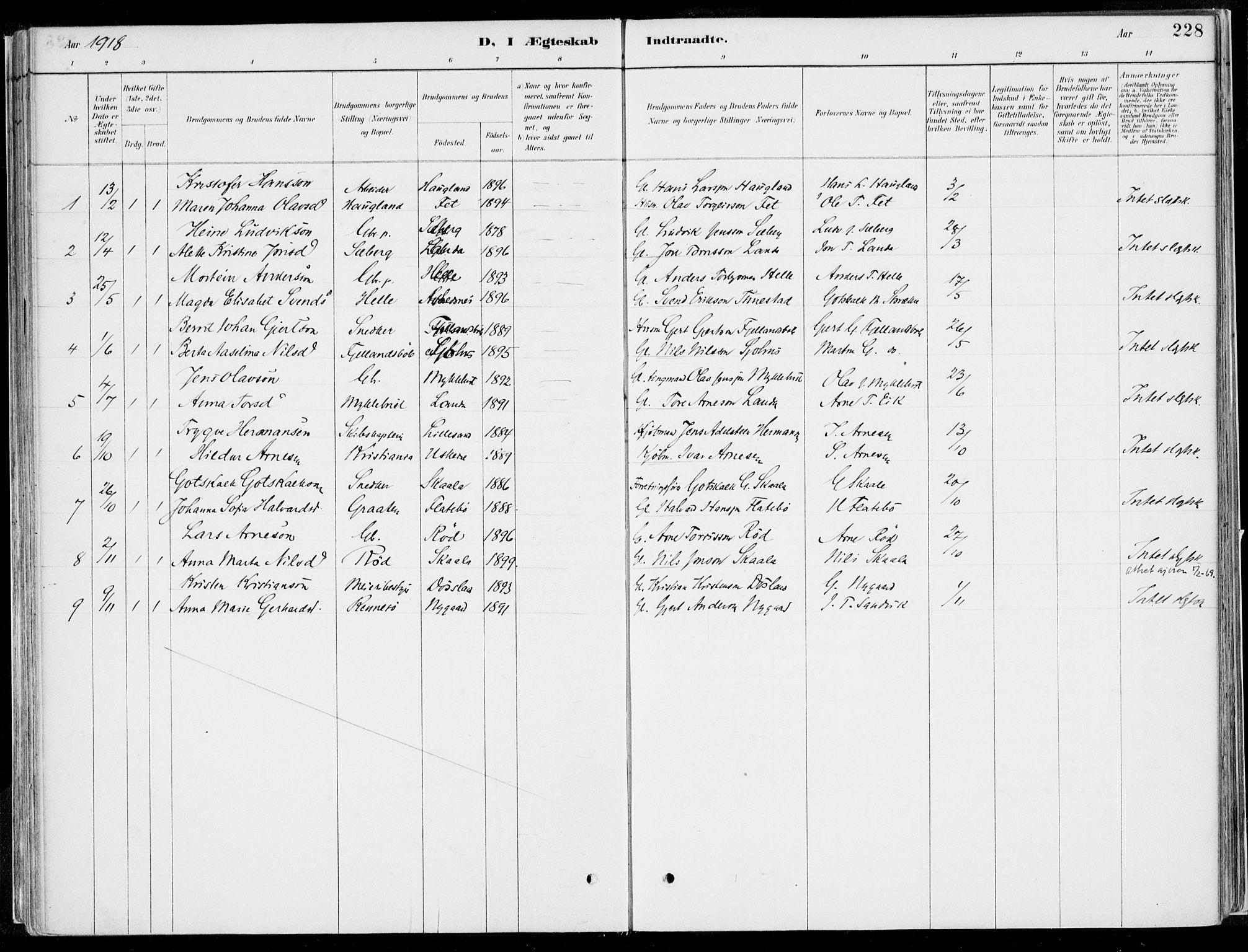 SAB, Kvinnherad Sokneprestembete, H/Haa: Ministerialbok nr. B  1, 1887-1921, s. 228