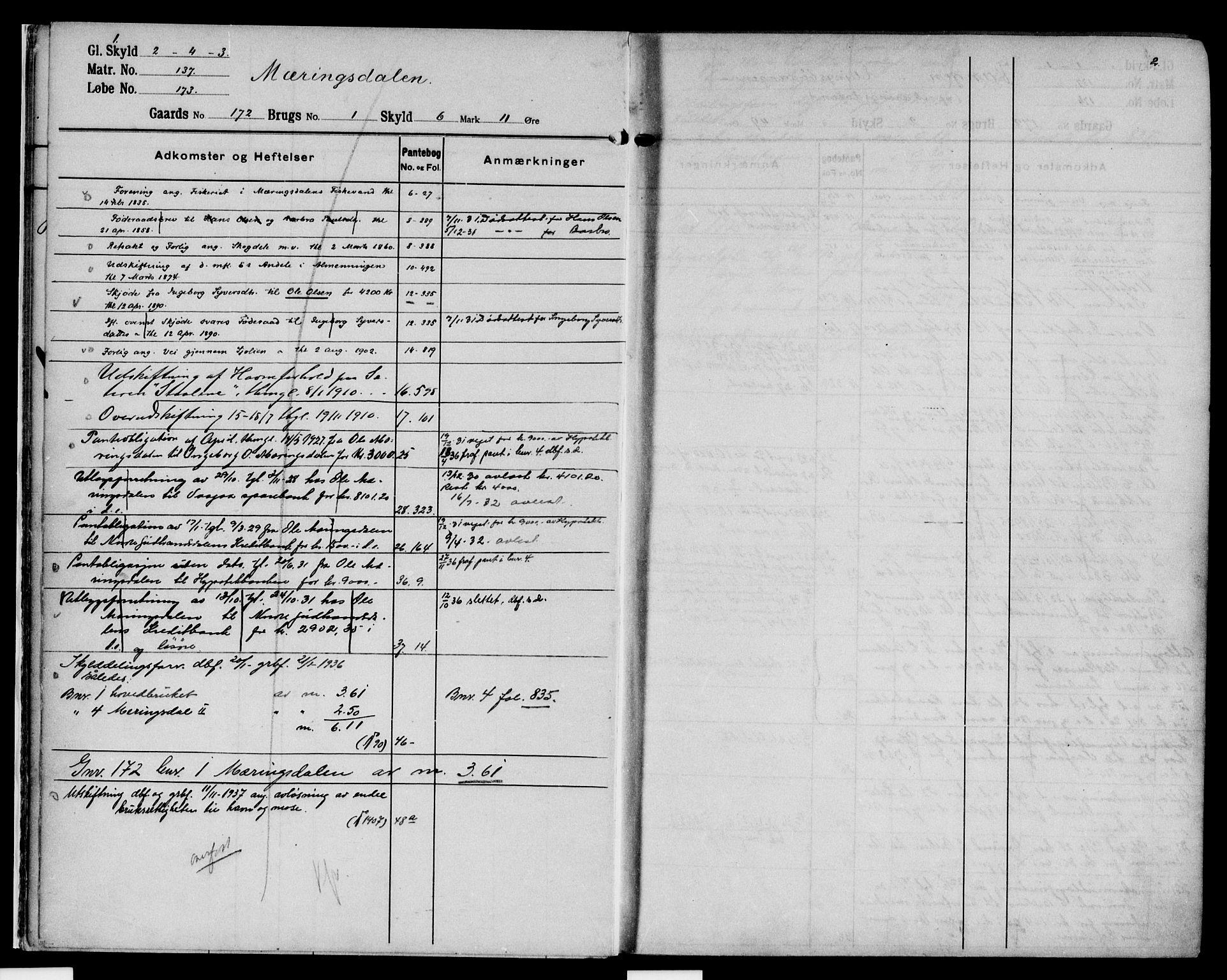 SAH, Nord-Gudbrandsdal tingrett, H/Ha/Had/L0009: Panteregister nr. 9, 1908-1950, s. 1-2