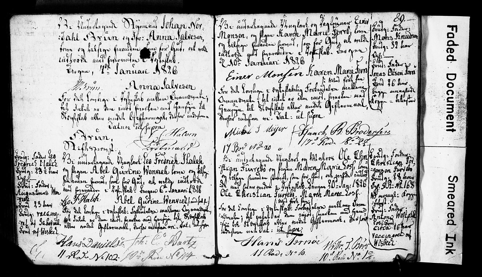 SAB, Domkirken Sokneprestembete, Forlovererklæringer nr. II.5.2, 1820-1832, s. 89