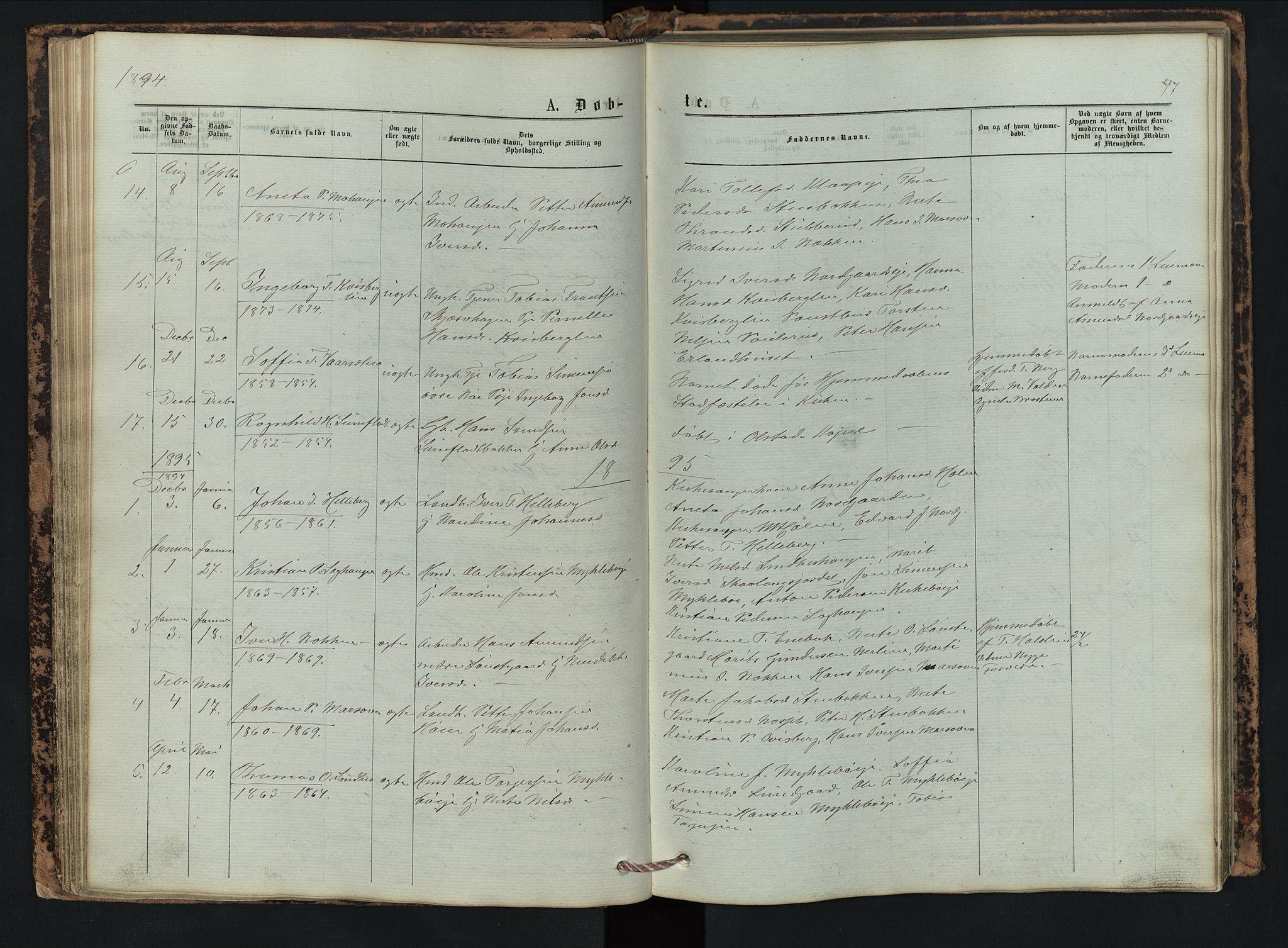 SAH, Vestre Gausdal prestekontor, Klokkerbok nr. 2, 1874-1897, s. 47