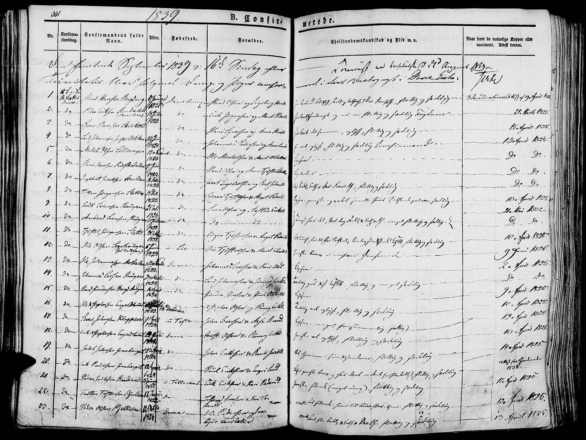 SAH, Lesja prestekontor, Ministerialbok nr. 5, 1830-1842, s. 361