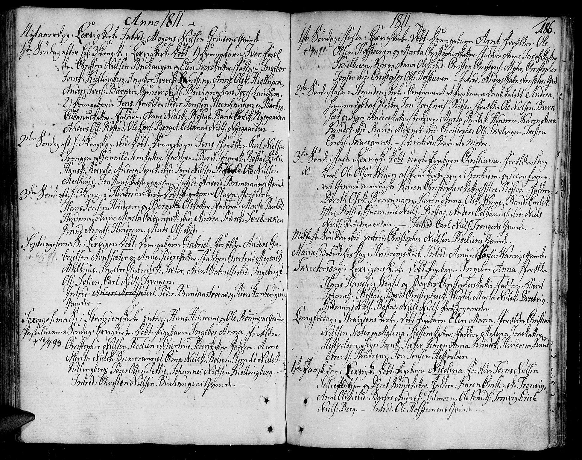 SAT, Ministerialprotokoller, klokkerbøker og fødselsregistre - Nord-Trøndelag, 701/L0004: Ministerialbok nr. 701A04, 1783-1816, s. 186