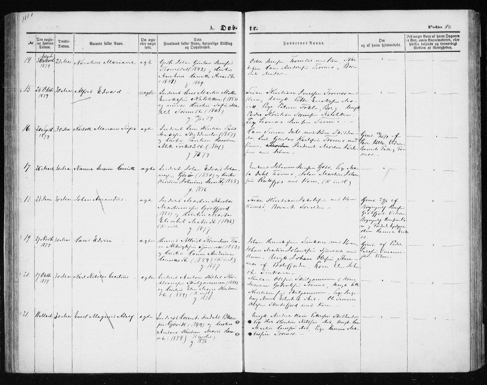 SATØ, Tromsøysund sokneprestkontor, G/Ga/L0003kirke: Ministerialbok nr. 3, 1875-1880, s. 84