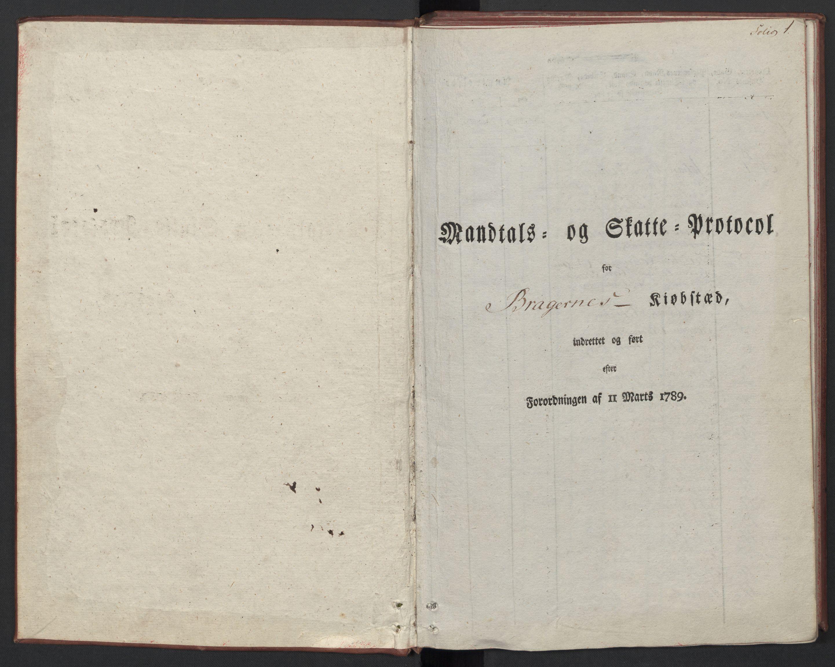 RA, Rentekammeret inntil 1814, Reviderte regnskaper, Mindre regnskaper, Rf/Rfe/L0004: Bragernes. Buskerud fogderi, 1789, s. 4