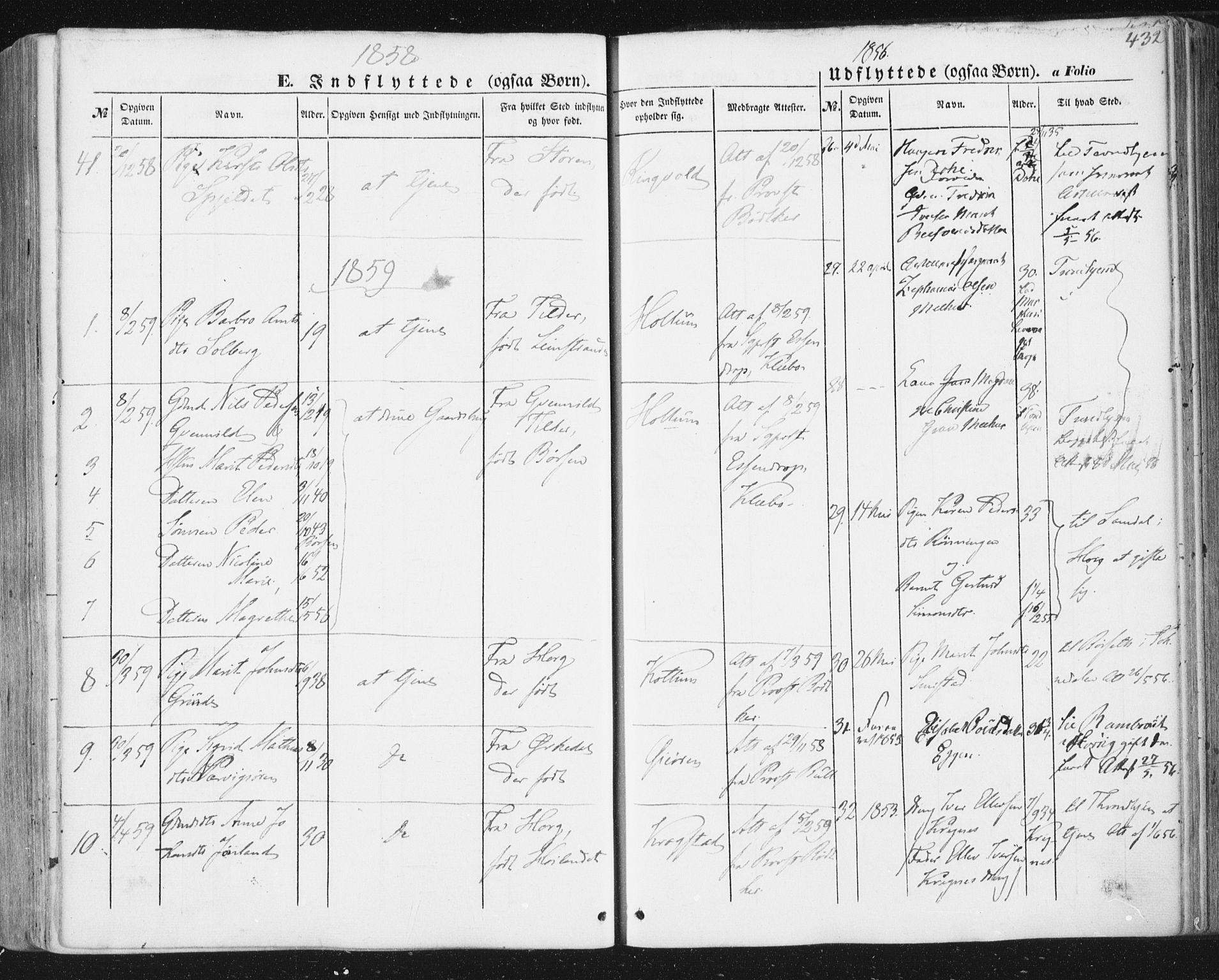 SAT, Ministerialprotokoller, klokkerbøker og fødselsregistre - Sør-Trøndelag, 691/L1076: Ministerialbok nr. 691A08, 1852-1861, s. 432