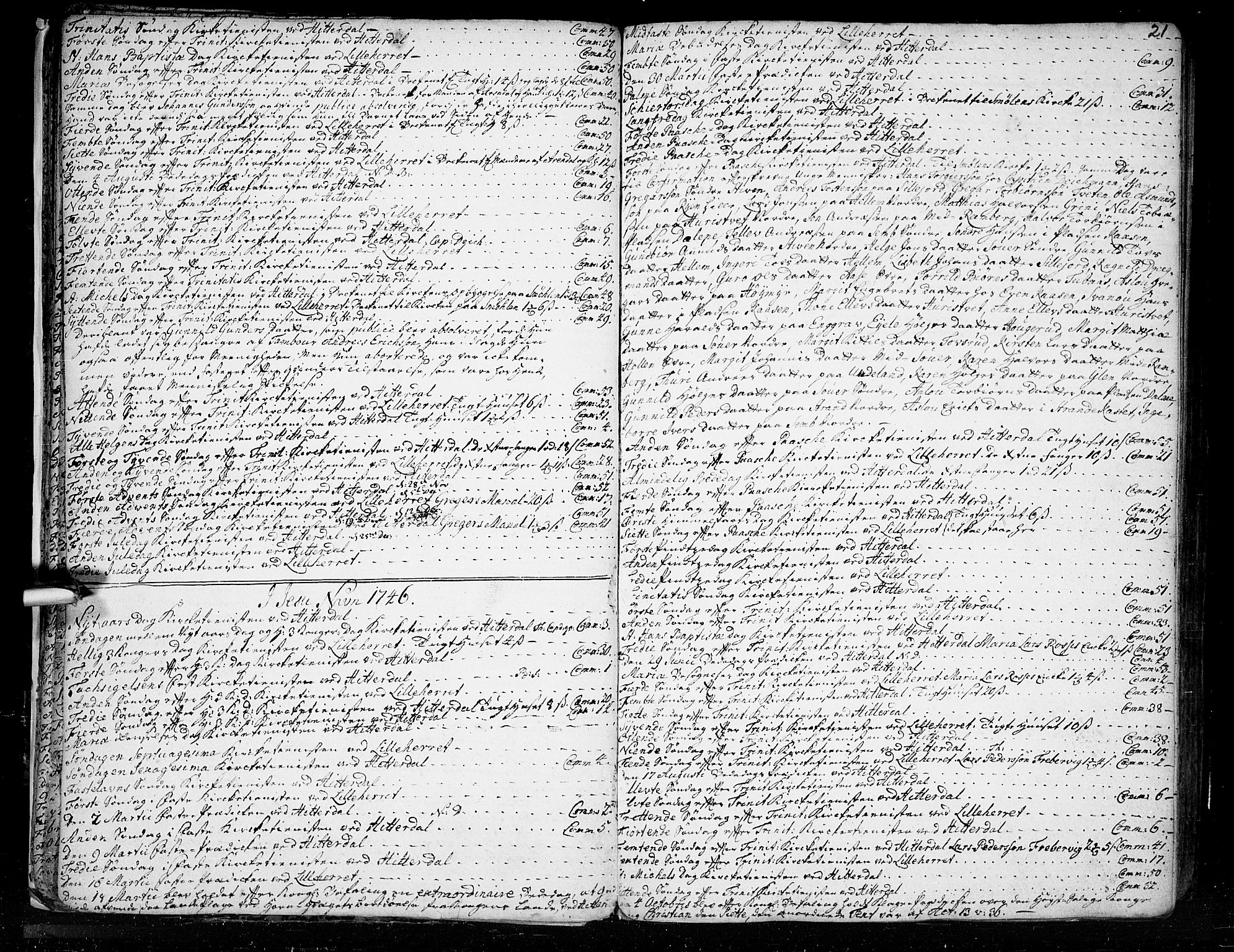 SAKO, Heddal kirkebøker, F/Fa/L0003: Ministerialbok nr. I 3, 1723-1783, s. 21
