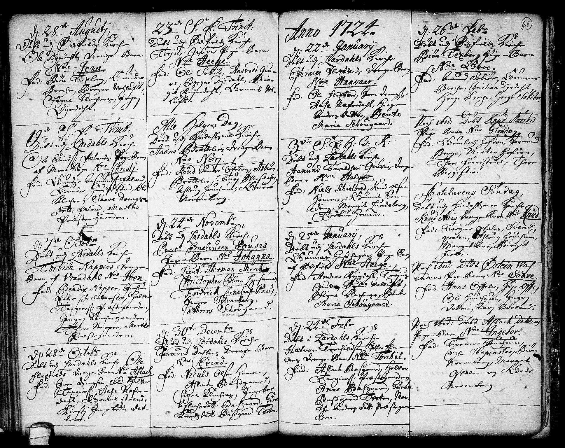 SAKO, Lårdal kirkebøker, F/Fa/L0001: Ministerialbok nr. I 1, 1721-1734, s. 69