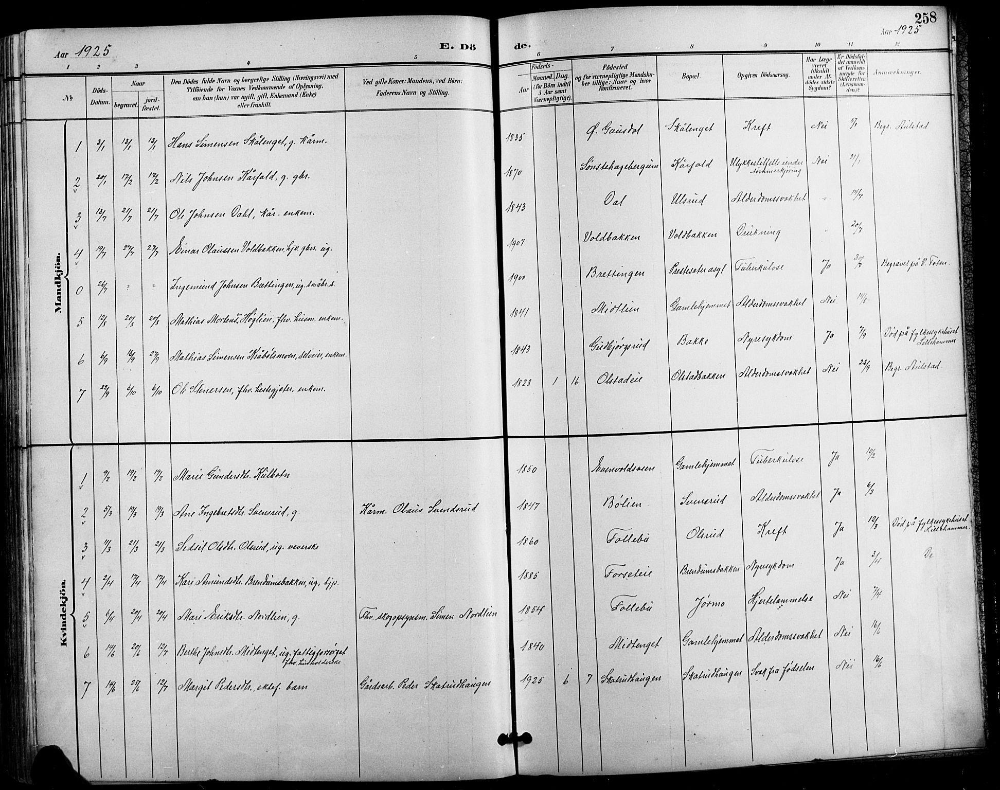 SAH, Vestre Gausdal prestekontor, Klokkerbok nr. 3, 1896-1925, s. 258