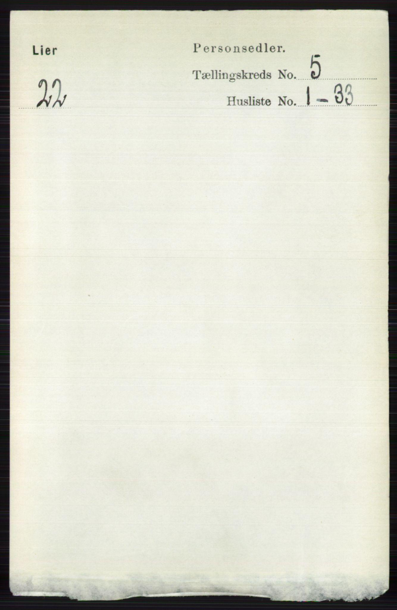 RA, Folketelling 1891 for 0626 Lier herred, 1891, s. 3283