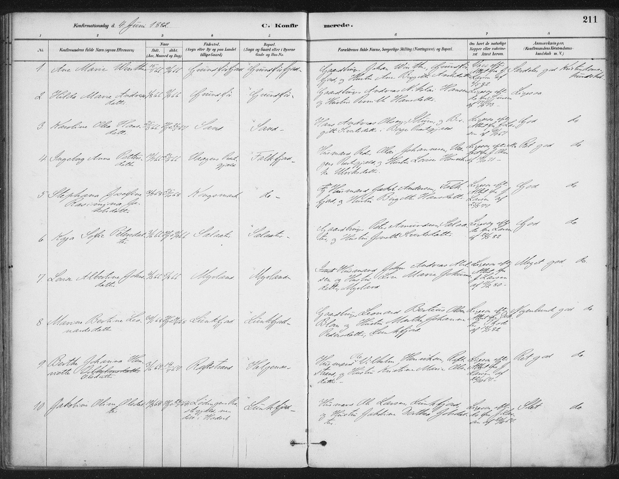 SAT, Ministerialprotokoller, klokkerbøker og fødselsregistre - Nordland, 888/L1244: Ministerialbok nr. 888A10, 1880-1890, s. 211