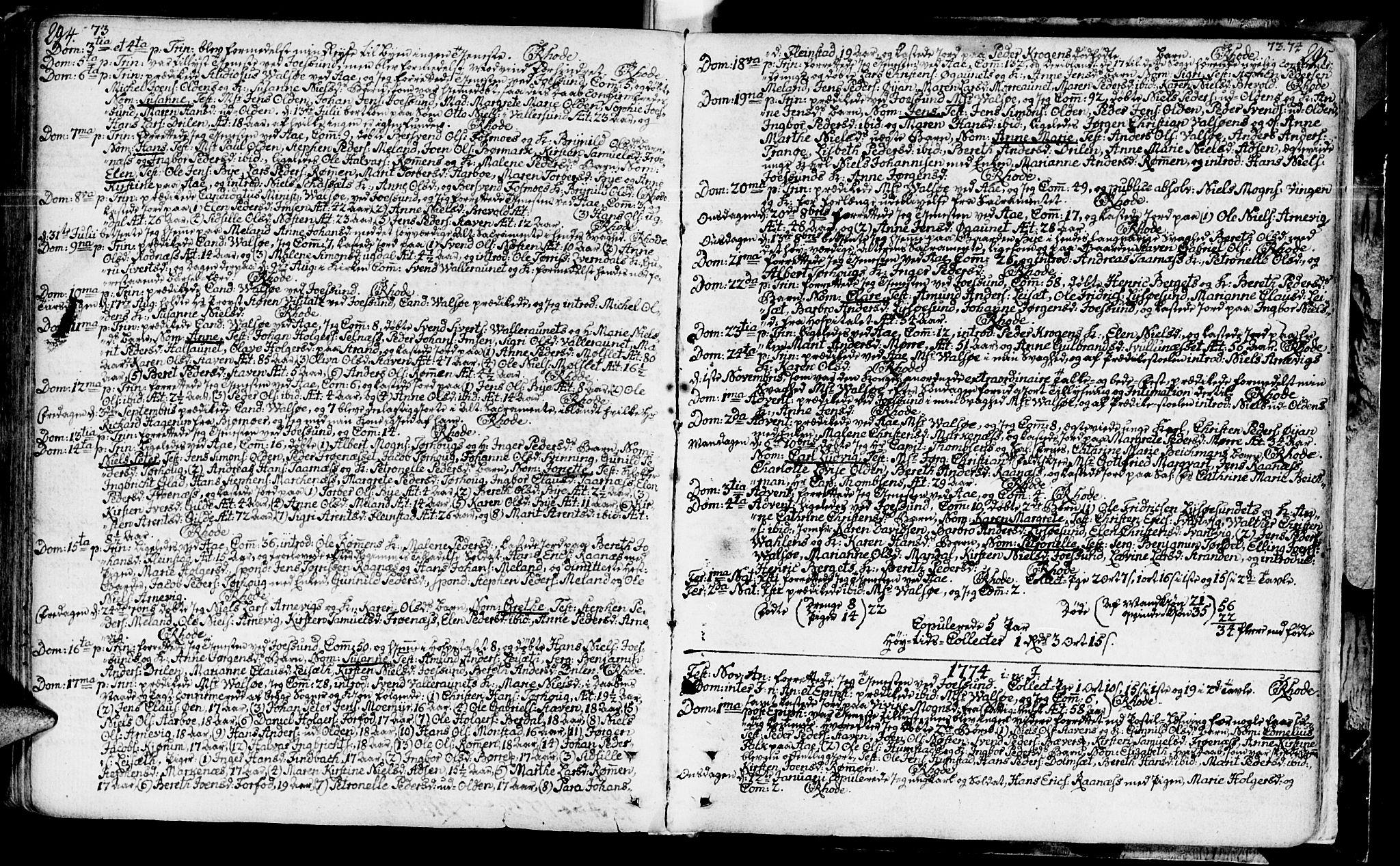SAT, Ministerialprotokoller, klokkerbøker og fødselsregistre - Sør-Trøndelag, 655/L0672: Ministerialbok nr. 655A01, 1750-1779, s. 294-295