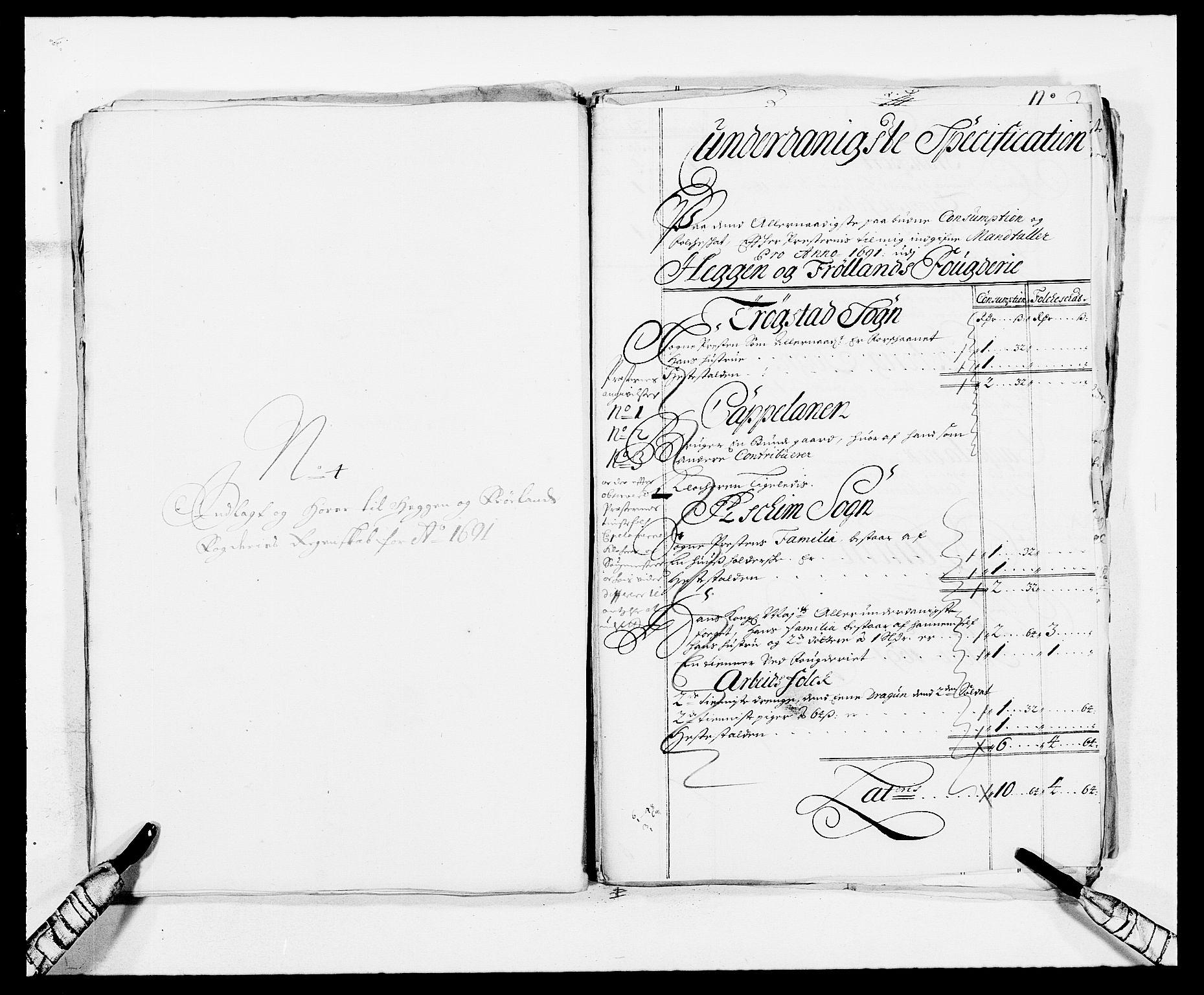 RA, Rentekammeret inntil 1814, Reviderte regnskaper, Fogderegnskap, R06/L0283: Fogderegnskap Heggen og Frøland, 1691-1693, s. 67