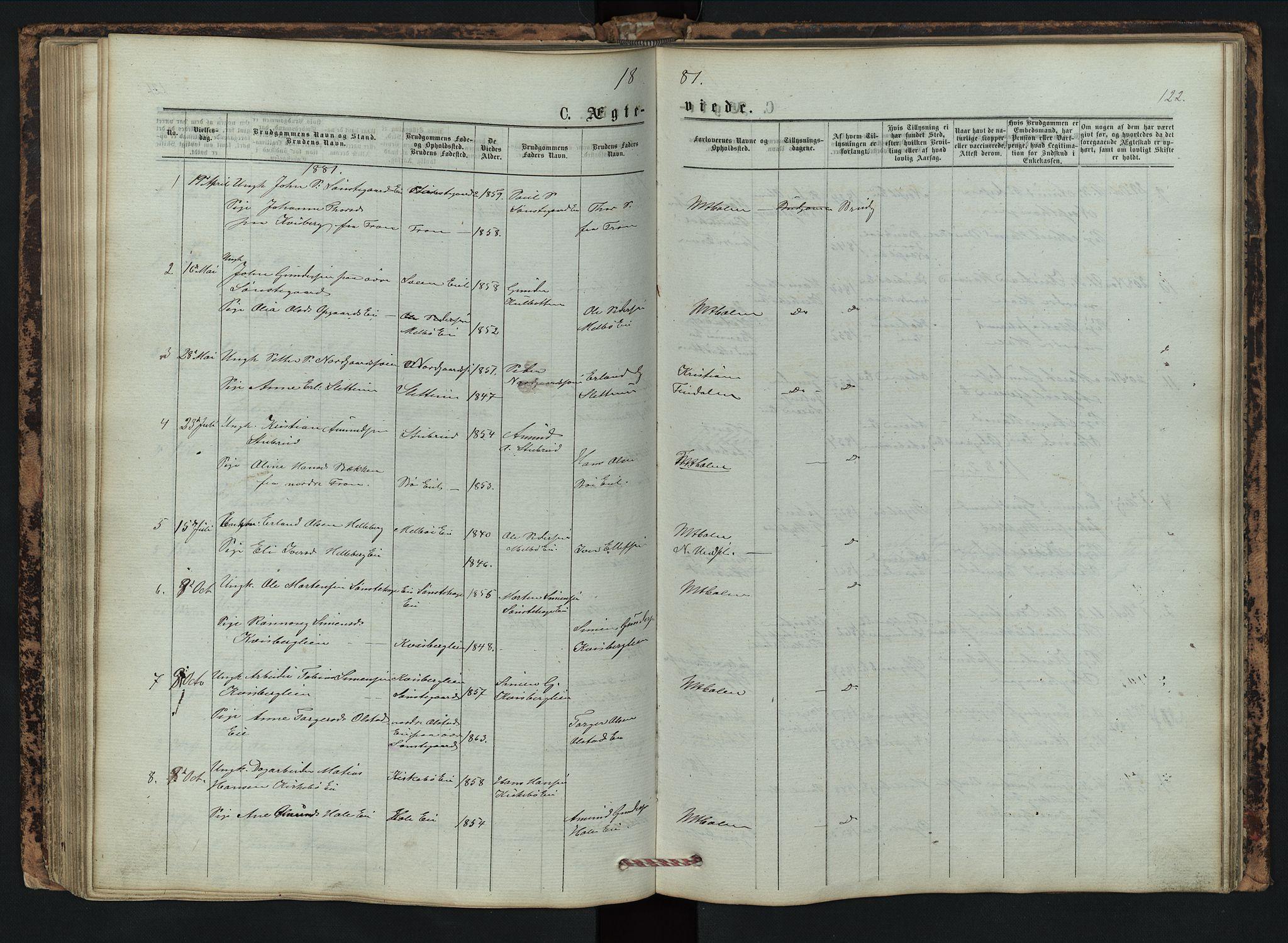 SAH, Vestre Gausdal prestekontor, Klokkerbok nr. 2, 1874-1897, s. 122