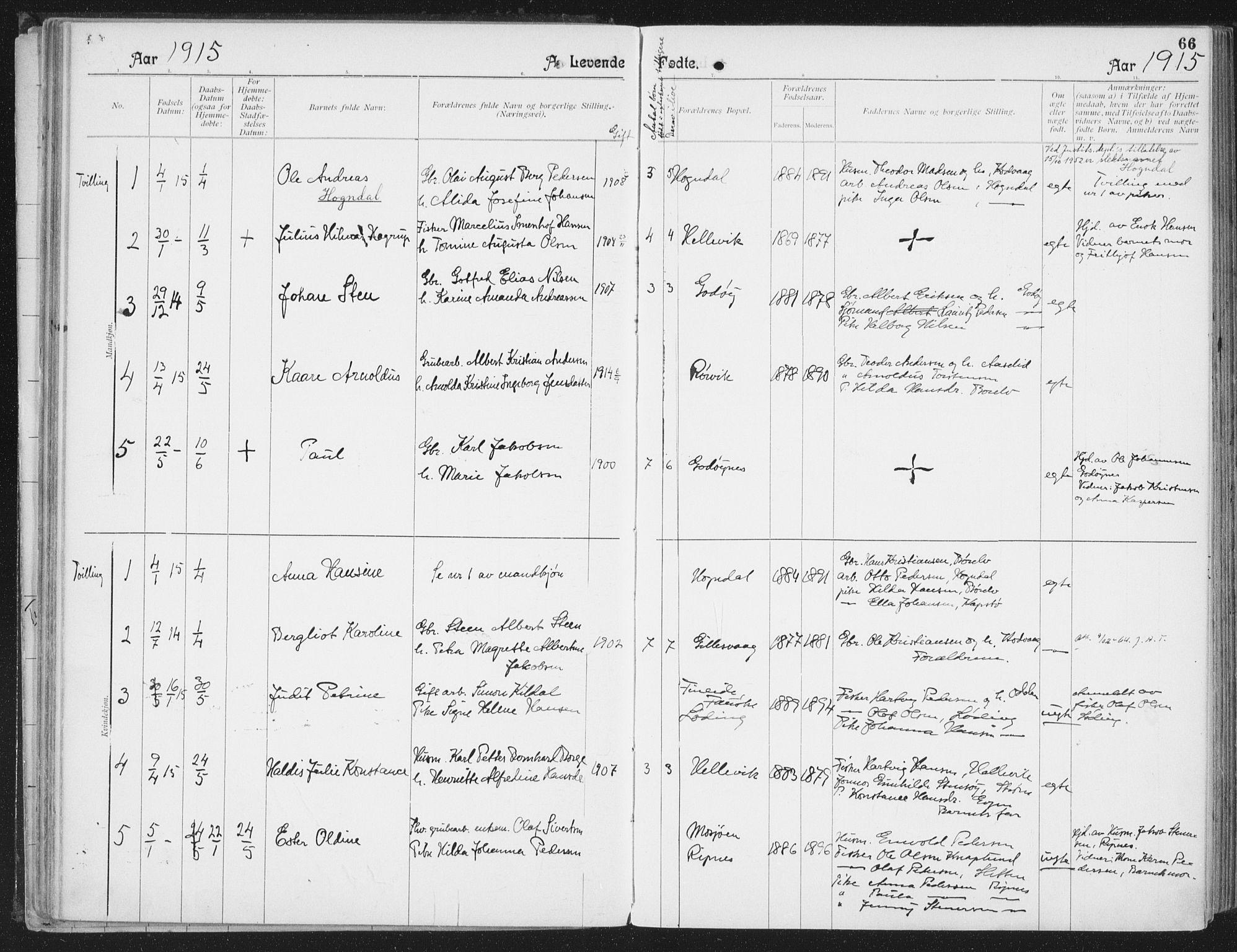 SAT, Ministerialprotokoller, klokkerbøker og fødselsregistre - Nordland, 804/L0081: Ministerialbok nr. 804A02, 1901-1915, s. 66