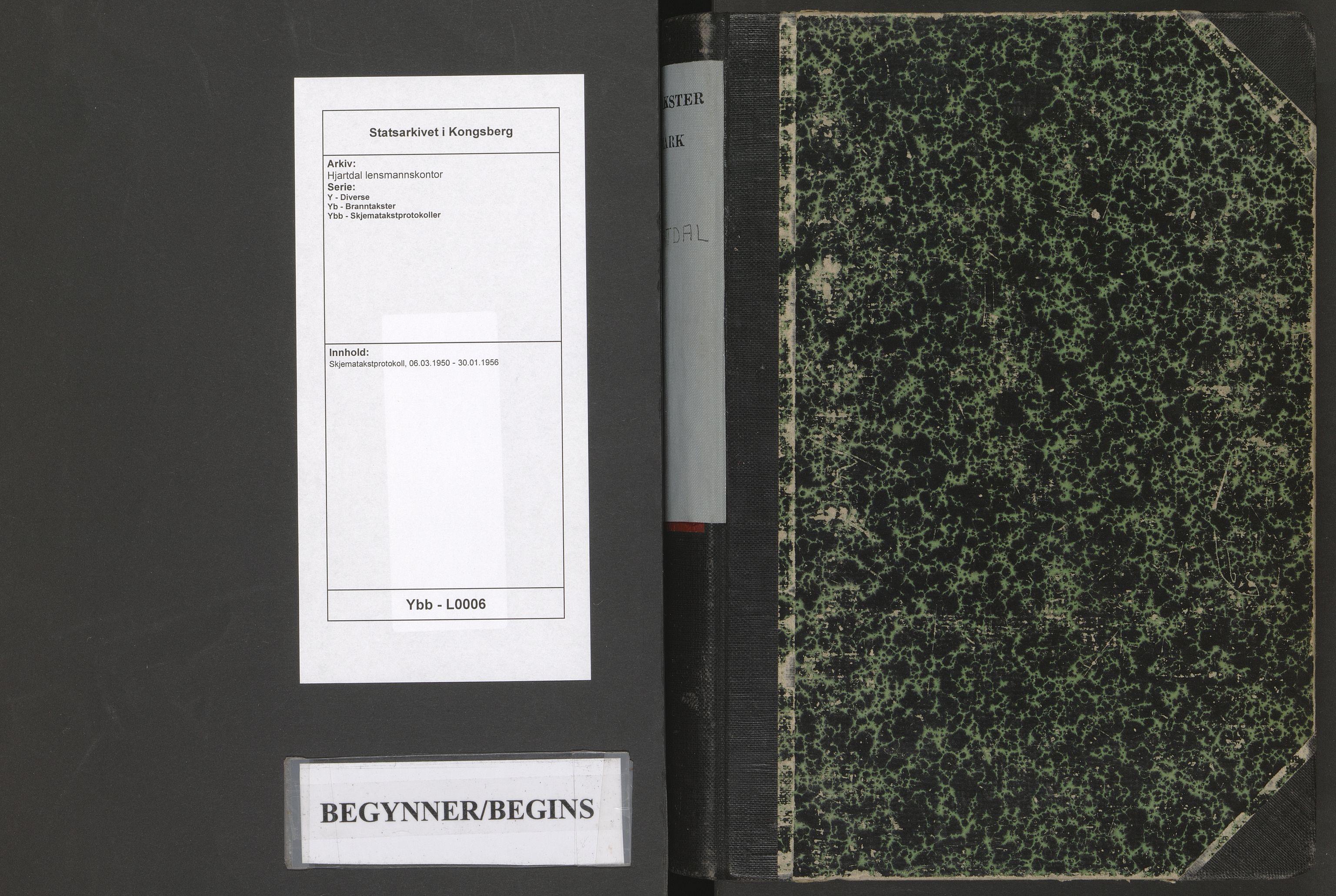 SAKO, Hjartdal lensmannskontor, Y/Yb/Ybb/L0006: Skjematakstprotokoll, 1950-1956