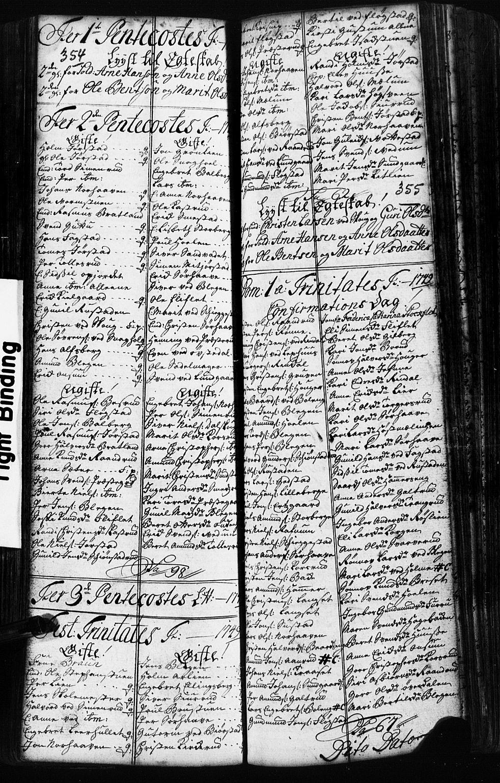 SAH, Fåberg prestekontor, Klokkerbok nr. 2, 1741-1756, s. 354-355