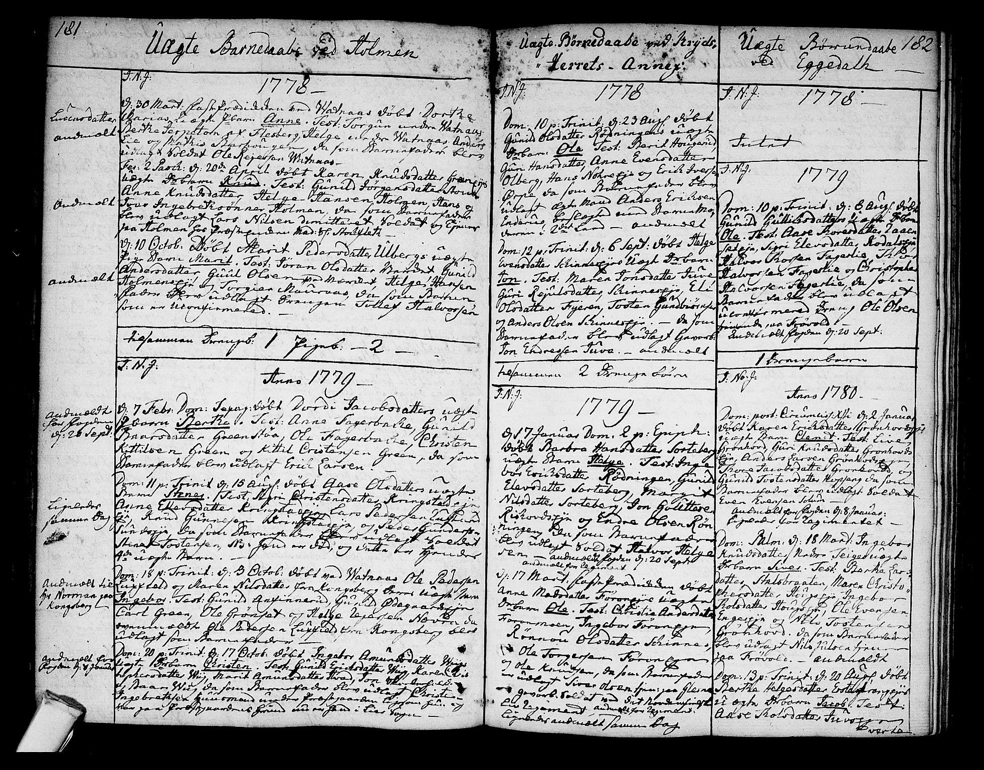 SAKO, Sigdal kirkebøker, F/Fa/L0002: Ministerialbok nr. I 2, 1778-1792, s. 181-182