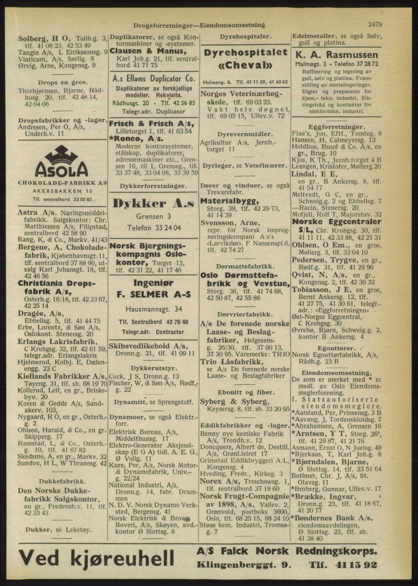 RA, Oslo adressebok (publikasjon)*, 1950, s. 2479
