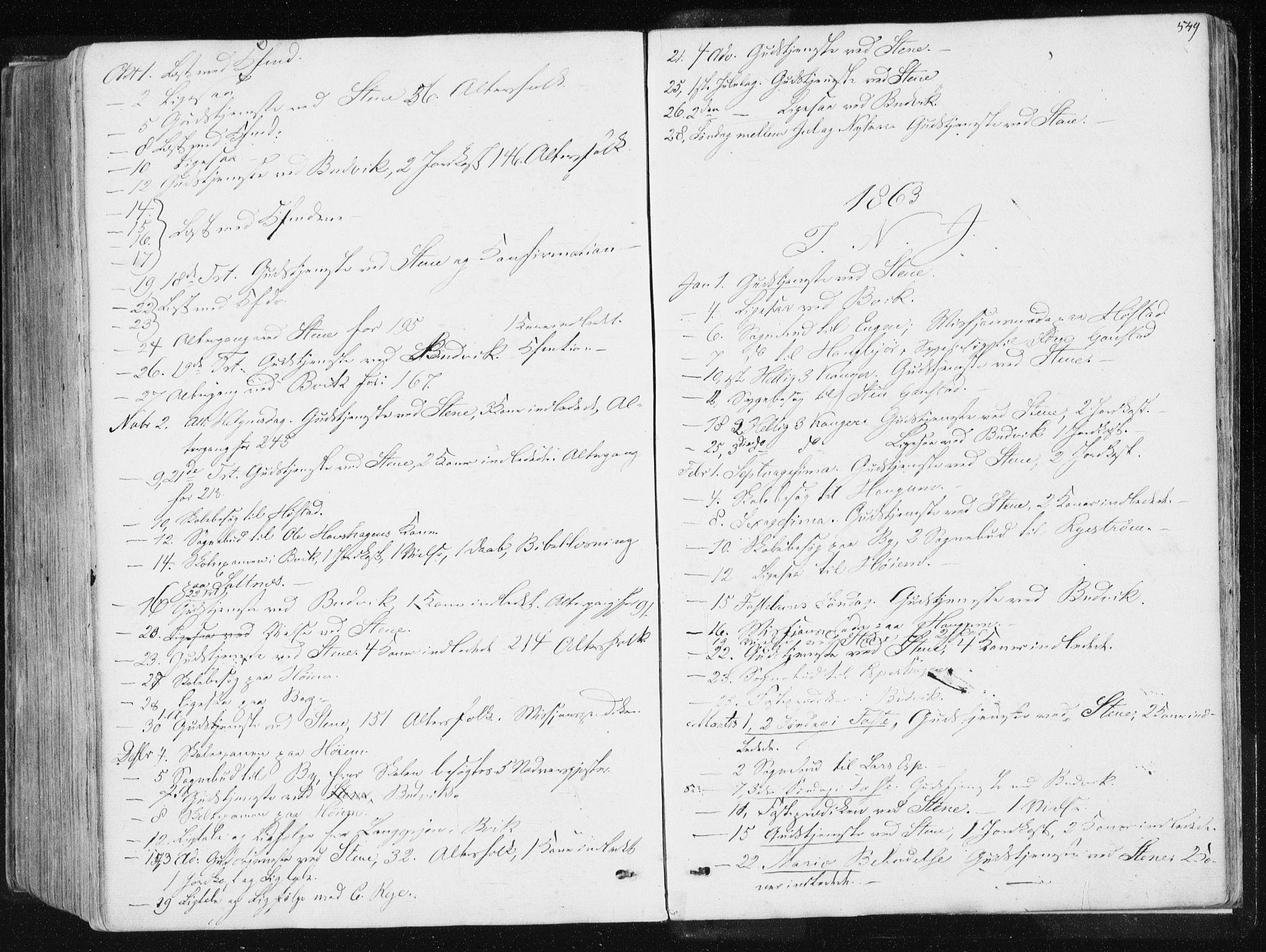 SAT, Ministerialprotokoller, klokkerbøker og fødselsregistre - Sør-Trøndelag, 612/L0377: Ministerialbok nr. 612A09, 1859-1877, s. 549
