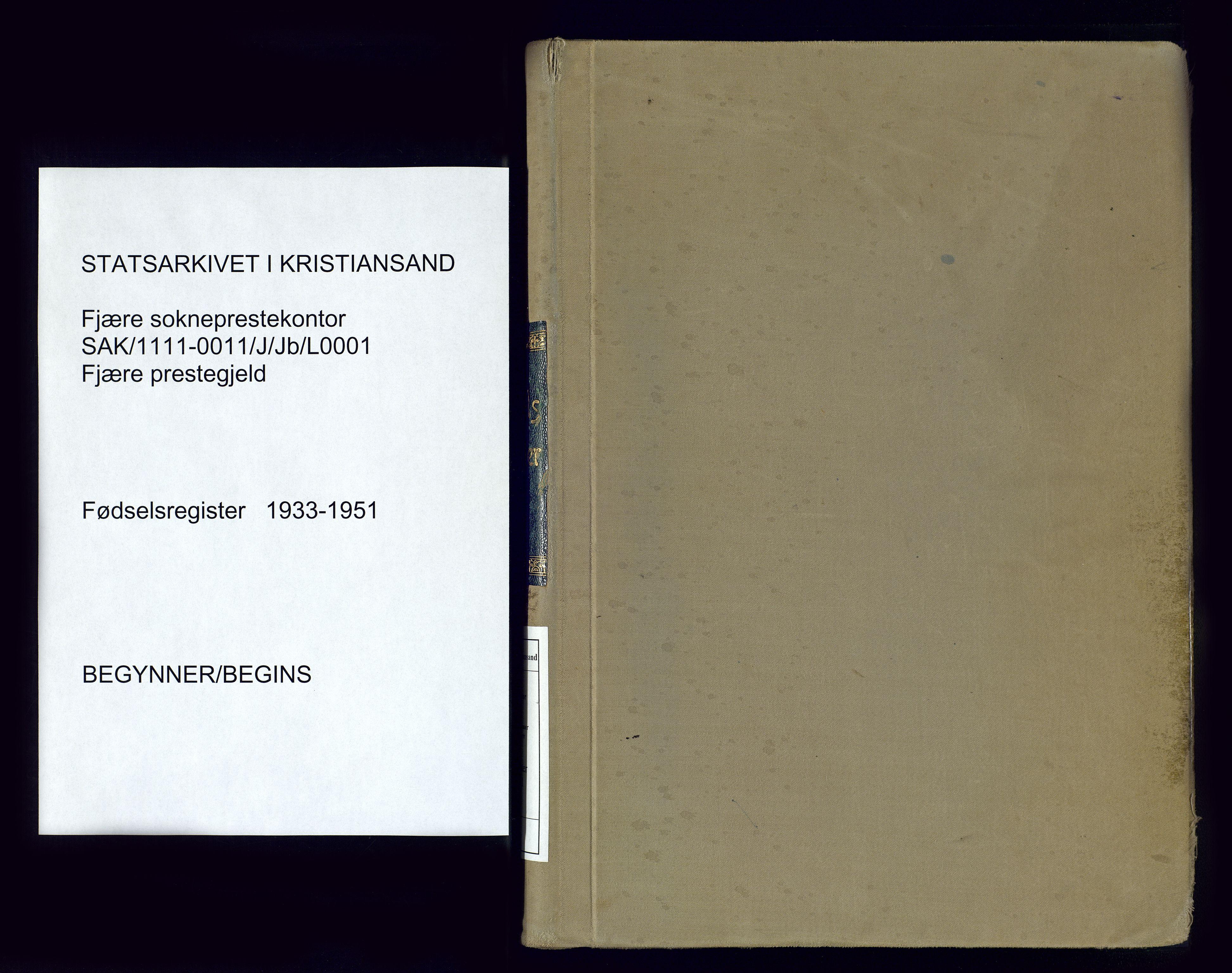 SAK, Fjære sokneprestkontor, J/Jb/L0001: Fødselsregister nr. 1, 1933-1951