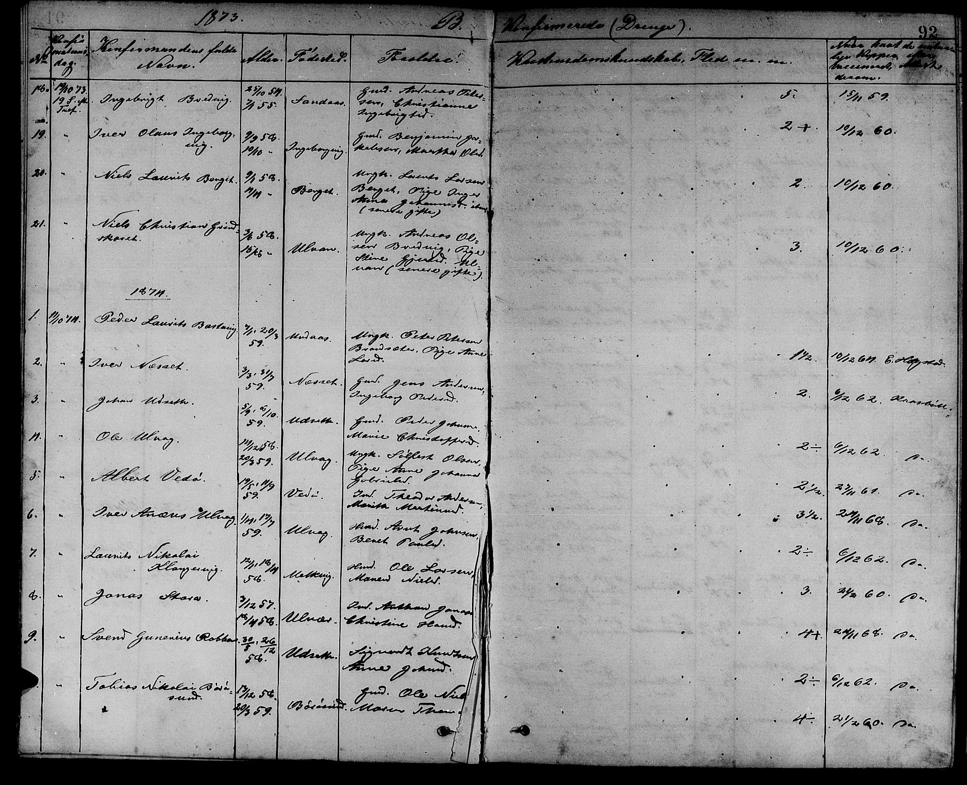 SAT, Ministerialprotokoller, klokkerbøker og fødselsregistre - Sør-Trøndelag, 637/L0561: Klokkerbok nr. 637C02, 1873-1882, s. 92