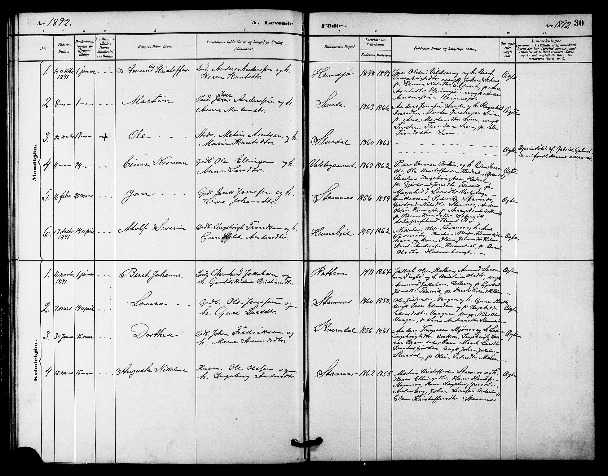 SAT, Ministerialprotokoller, klokkerbøker og fødselsregistre - Sør-Trøndelag, 633/L0519: Klokkerbok nr. 633C01, 1884-1905, s. 30