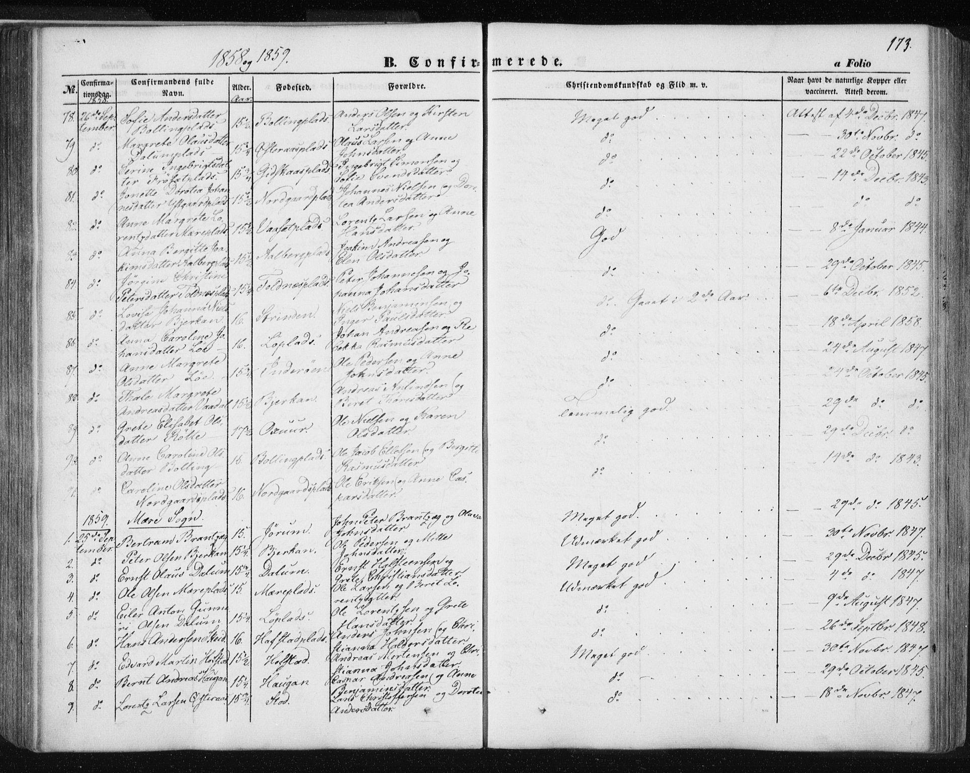 SAT, Ministerialprotokoller, klokkerbøker og fødselsregistre - Nord-Trøndelag, 735/L0342: Ministerialbok nr. 735A07 /1, 1849-1862, s. 173