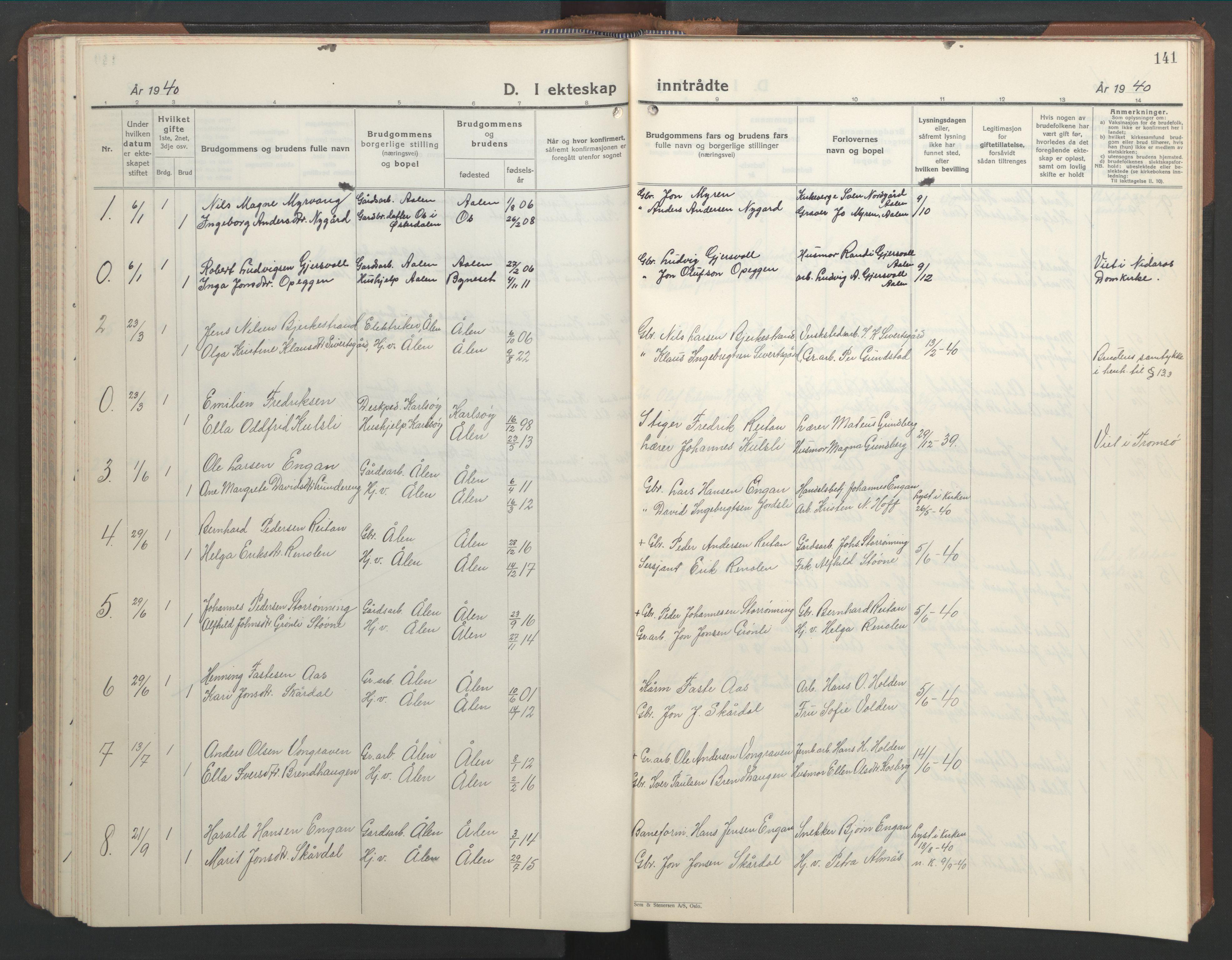 SAT, Ministerialprotokoller, klokkerbøker og fødselsregistre - Sør-Trøndelag, 686/L0986: Klokkerbok nr. 686C02, 1933-1950, s. 141