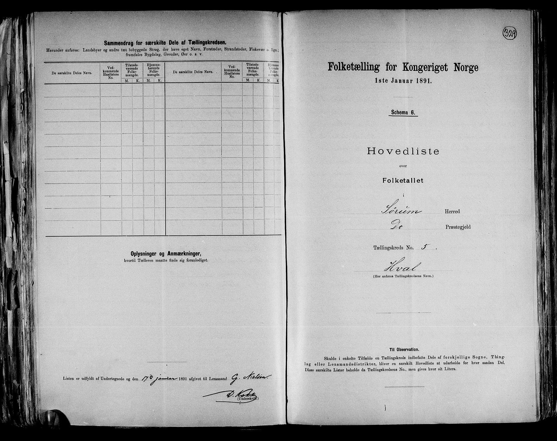 RA, Folketelling 1891 for 0226 Sørum herred, 1891, s. 14