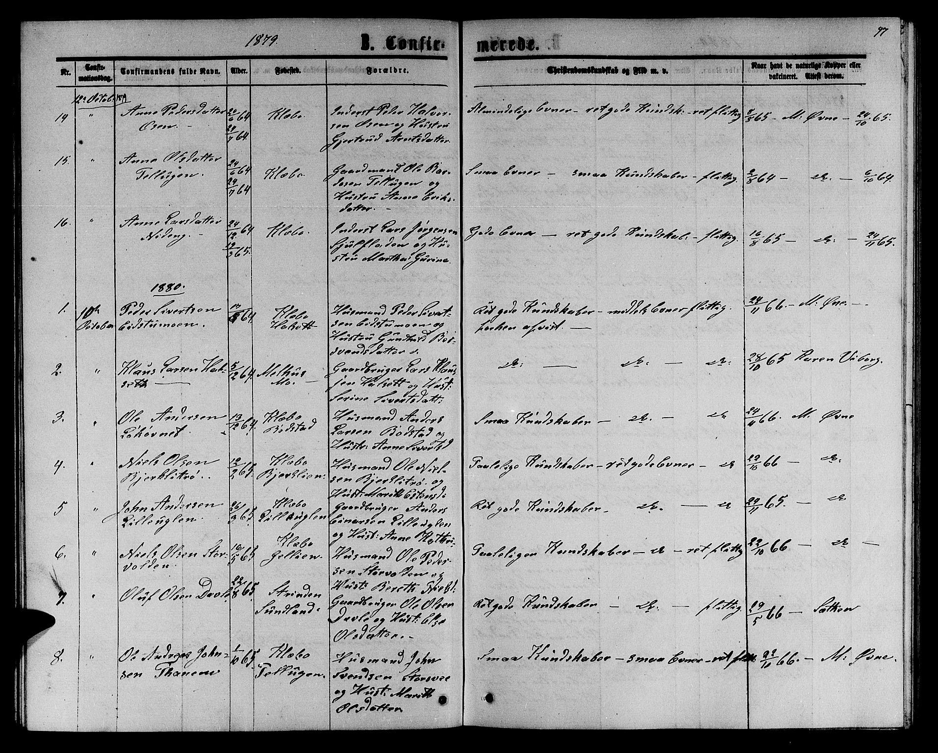 SAT, Ministerialprotokoller, klokkerbøker og fødselsregistre - Sør-Trøndelag, 618/L0451: Klokkerbok nr. 618C02, 1865-1883, s. 97