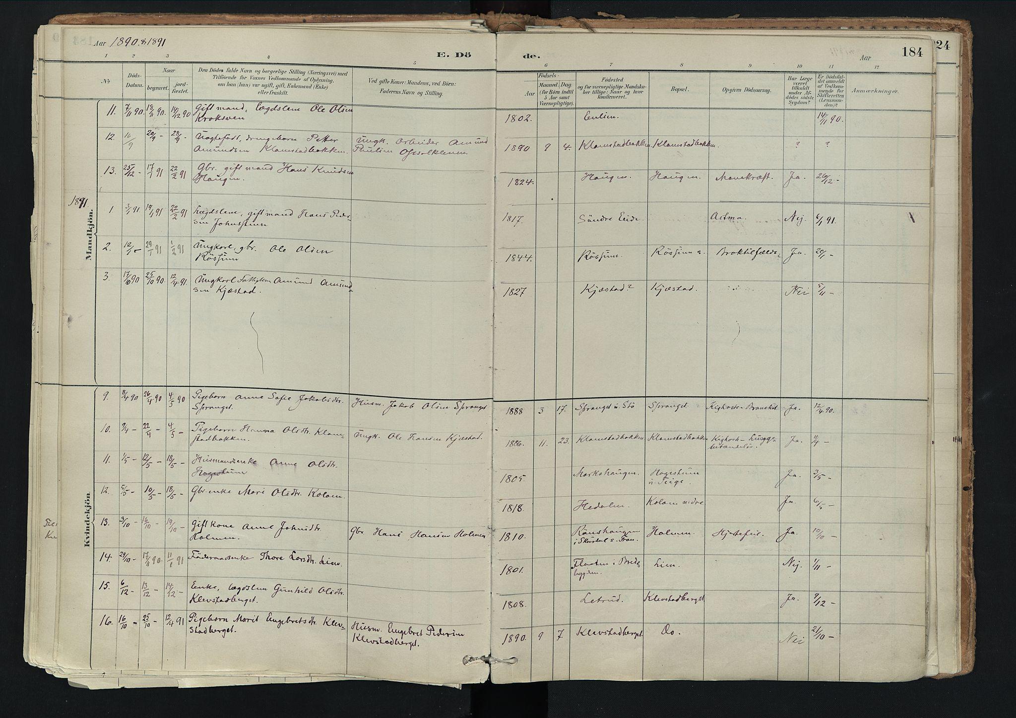 SAH, Nord-Fron prestekontor, Ministerialbok nr. 3, 1884-1914, s. 184