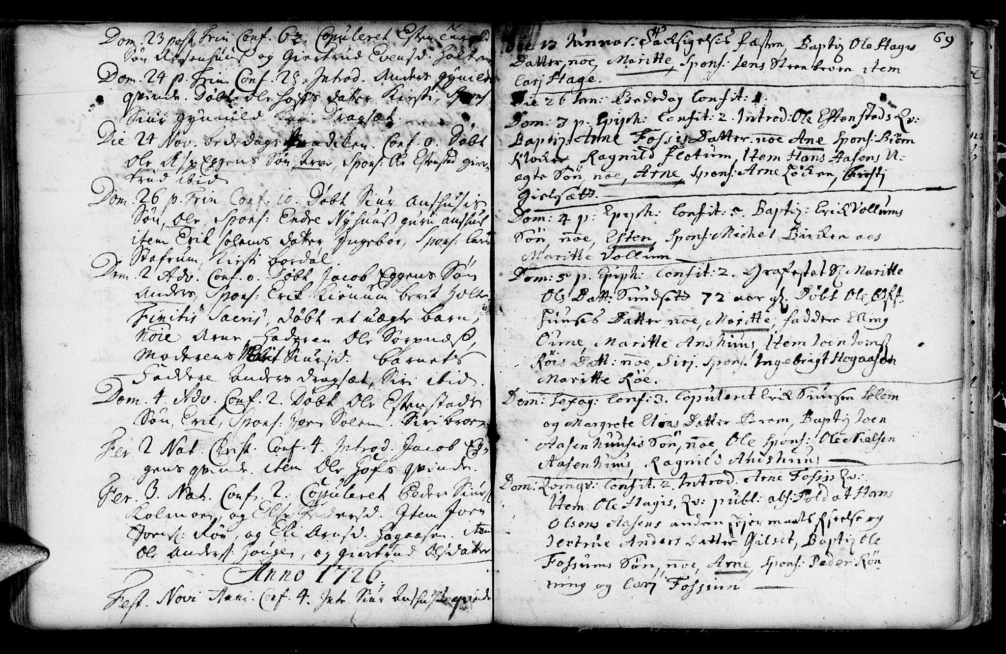 SAT, Ministerialprotokoller, klokkerbøker og fødselsregistre - Sør-Trøndelag, 689/L1036: Ministerialbok nr. 689A01, 1696-1746, s. 69