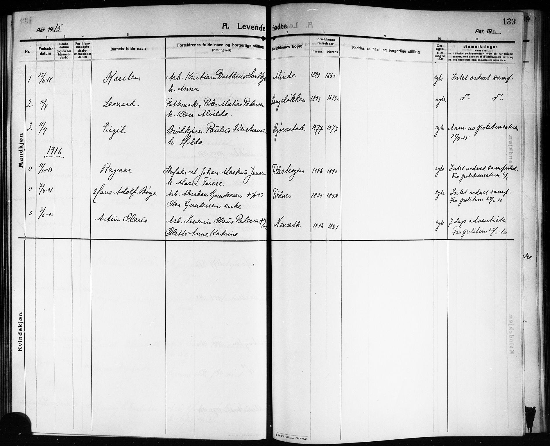 SAKO, Solum kirkebøker, G/Ga/L0009: Klokkerbok nr. I 9, 1909-1922, s. 133
