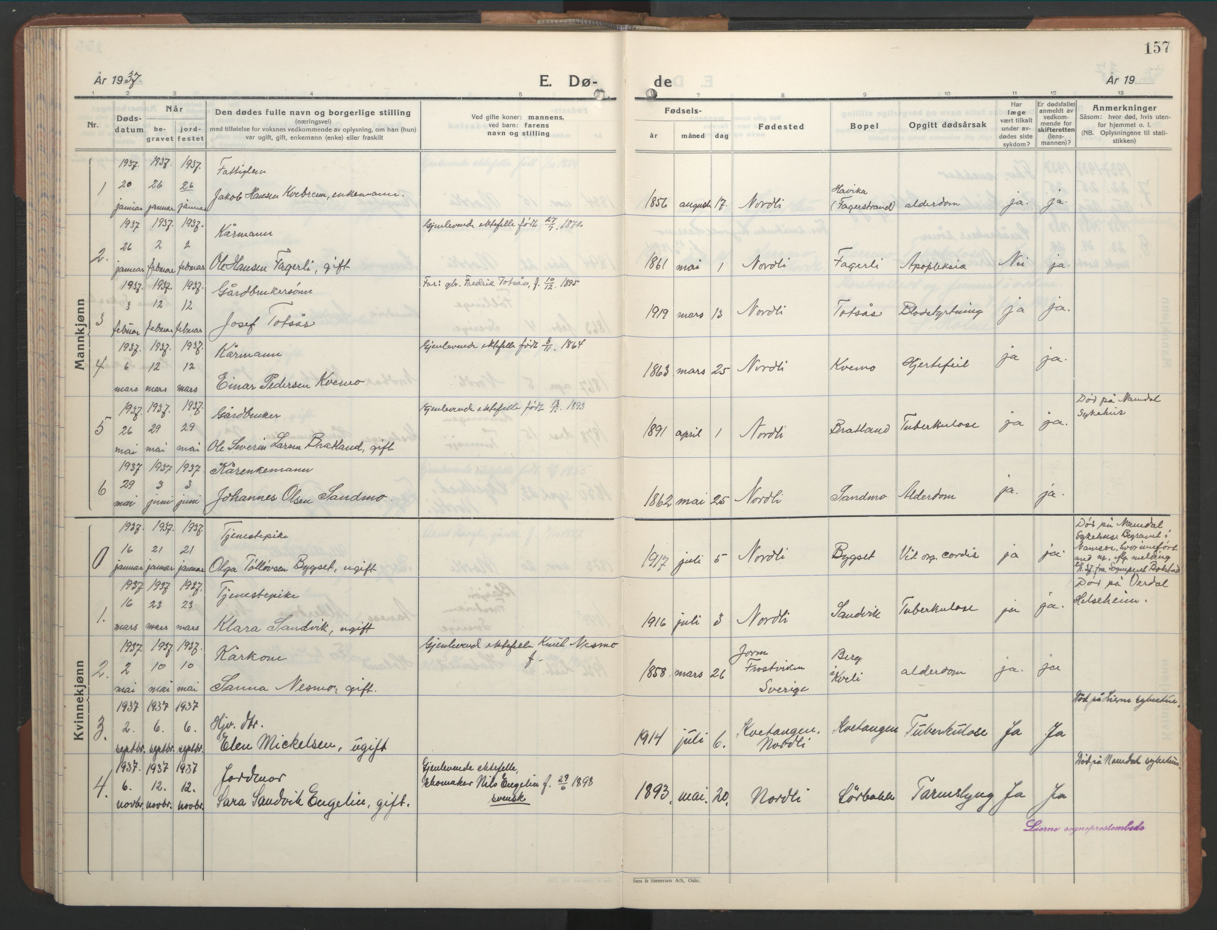 SAT, Ministerialprotokoller, klokkerbøker og fødselsregistre - Nord-Trøndelag, 755/L0500: Klokkerbok nr. 755C01, 1920-1962, s. 157