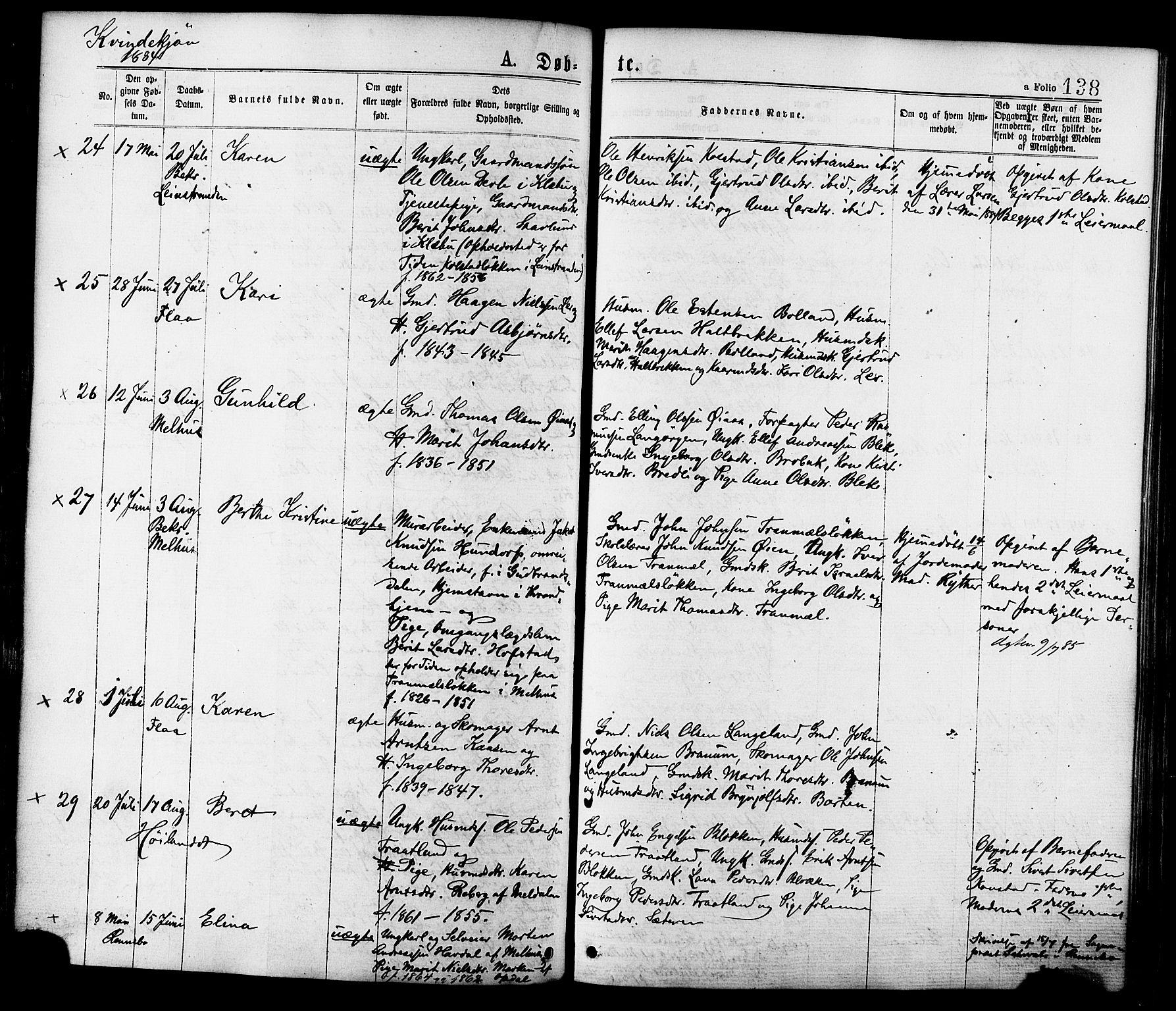SAT, Ministerialprotokoller, klokkerbøker og fødselsregistre - Sør-Trøndelag, 691/L1079: Ministerialbok nr. 691A11, 1873-1886, s. 138
