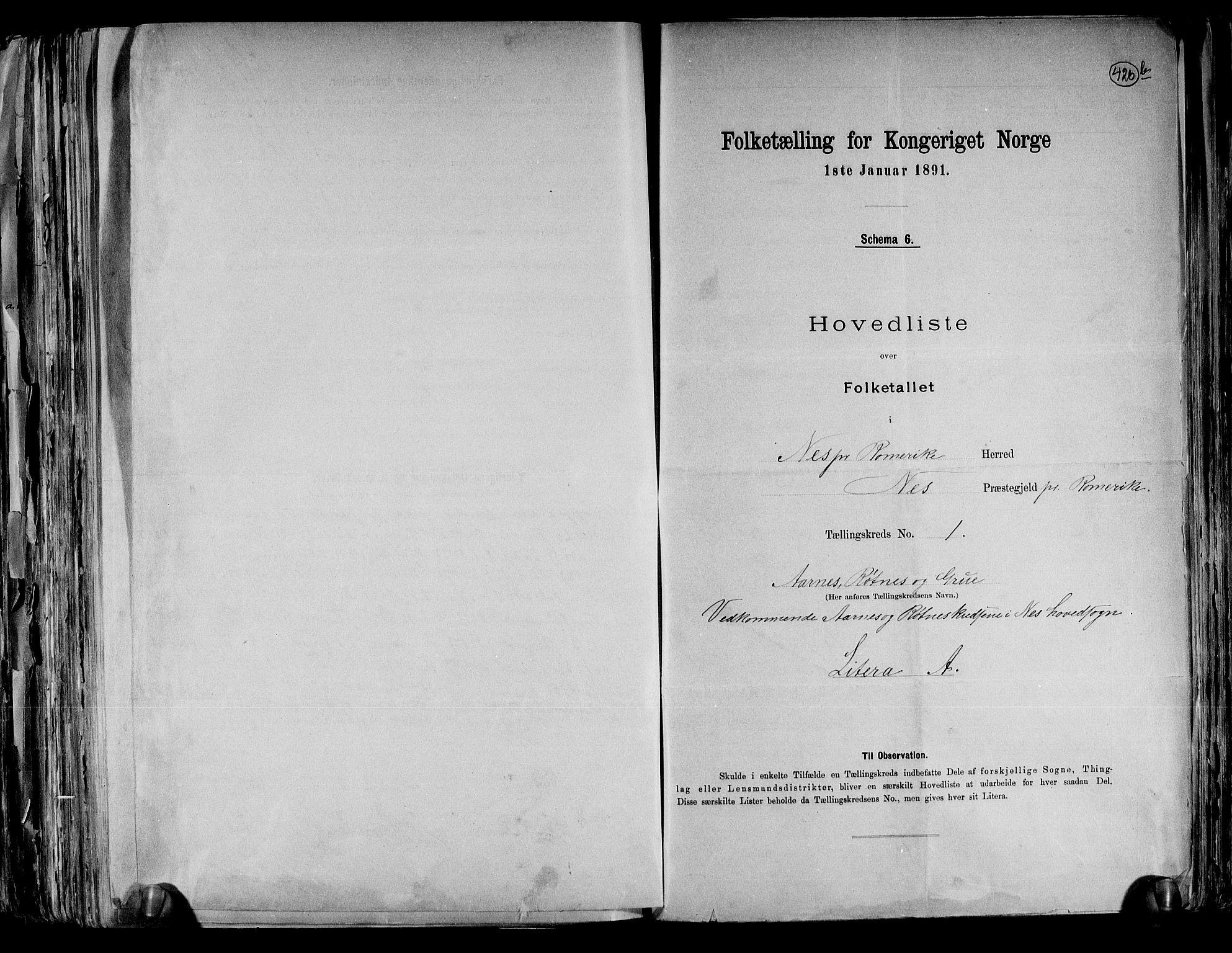 RA, Folketelling 1891 for 0236 Nes herred, 1891, s. 4