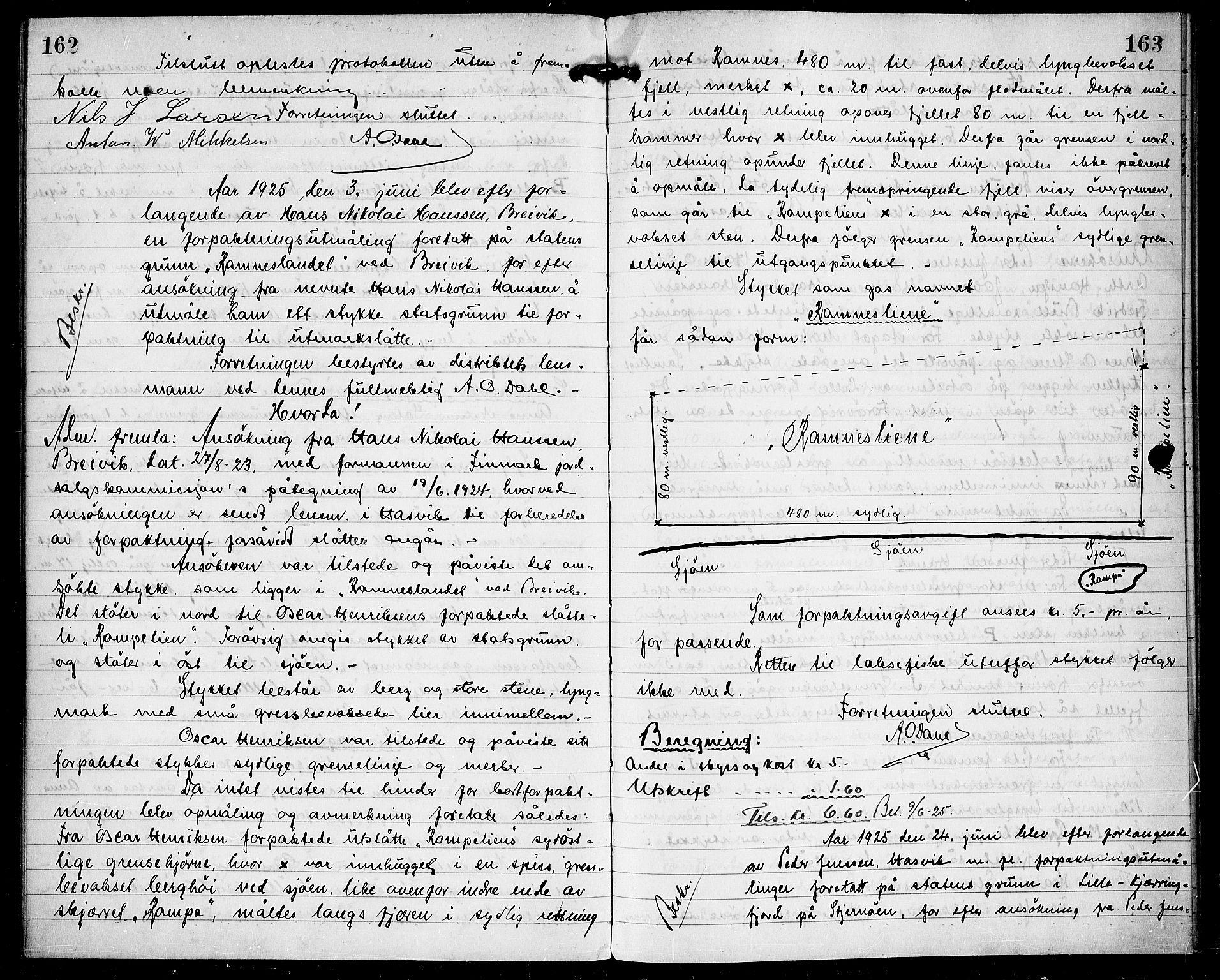 FIEI, Lensmannen i Hasvik (hos Finnmarkseiendommen)*, 1921-1927, s. 162-163