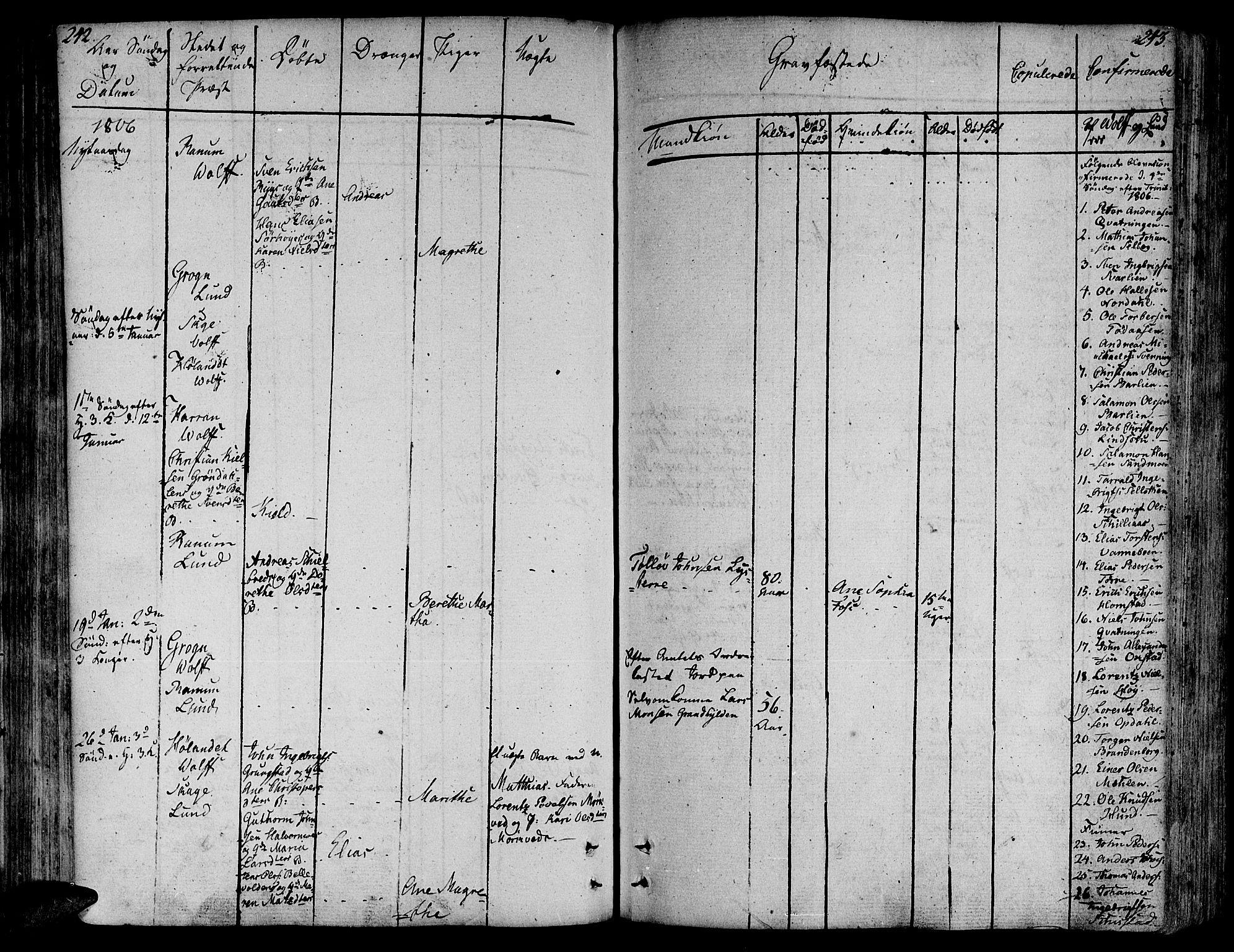 SAT, Ministerialprotokoller, klokkerbøker og fødselsregistre - Nord-Trøndelag, 764/L0545: Ministerialbok nr. 764A05, 1799-1816, s. 242-243