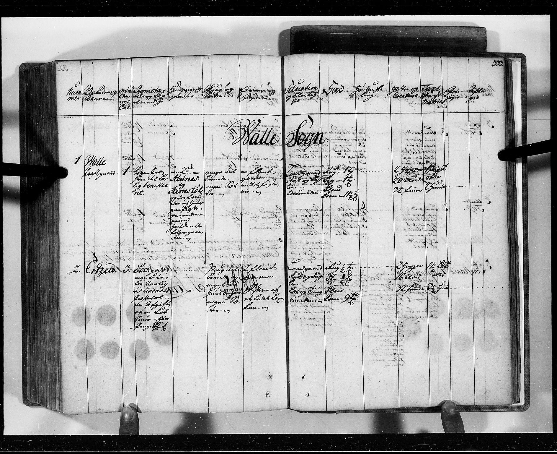 RA, Rentekammeret inntil 1814, Realistisk ordnet avdeling, N/Nb/Nbf/L0129: Lista eksaminasjonsprotokoll, 1723, s. 332b-333a
