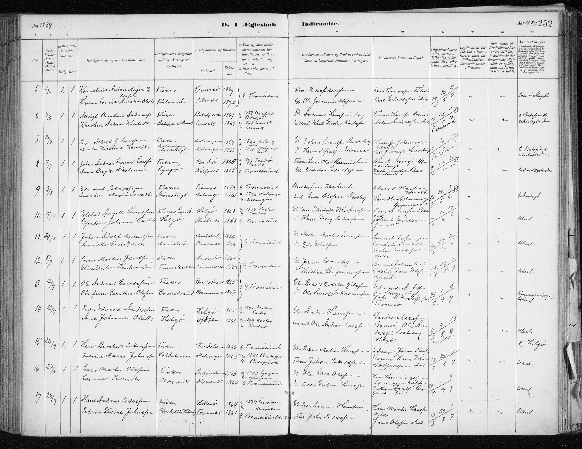 SATØ, Tromsøysund sokneprestkontor, G/Ga/L0005kirke: Ministerialbok nr. 5, 1888-1896, s. 252