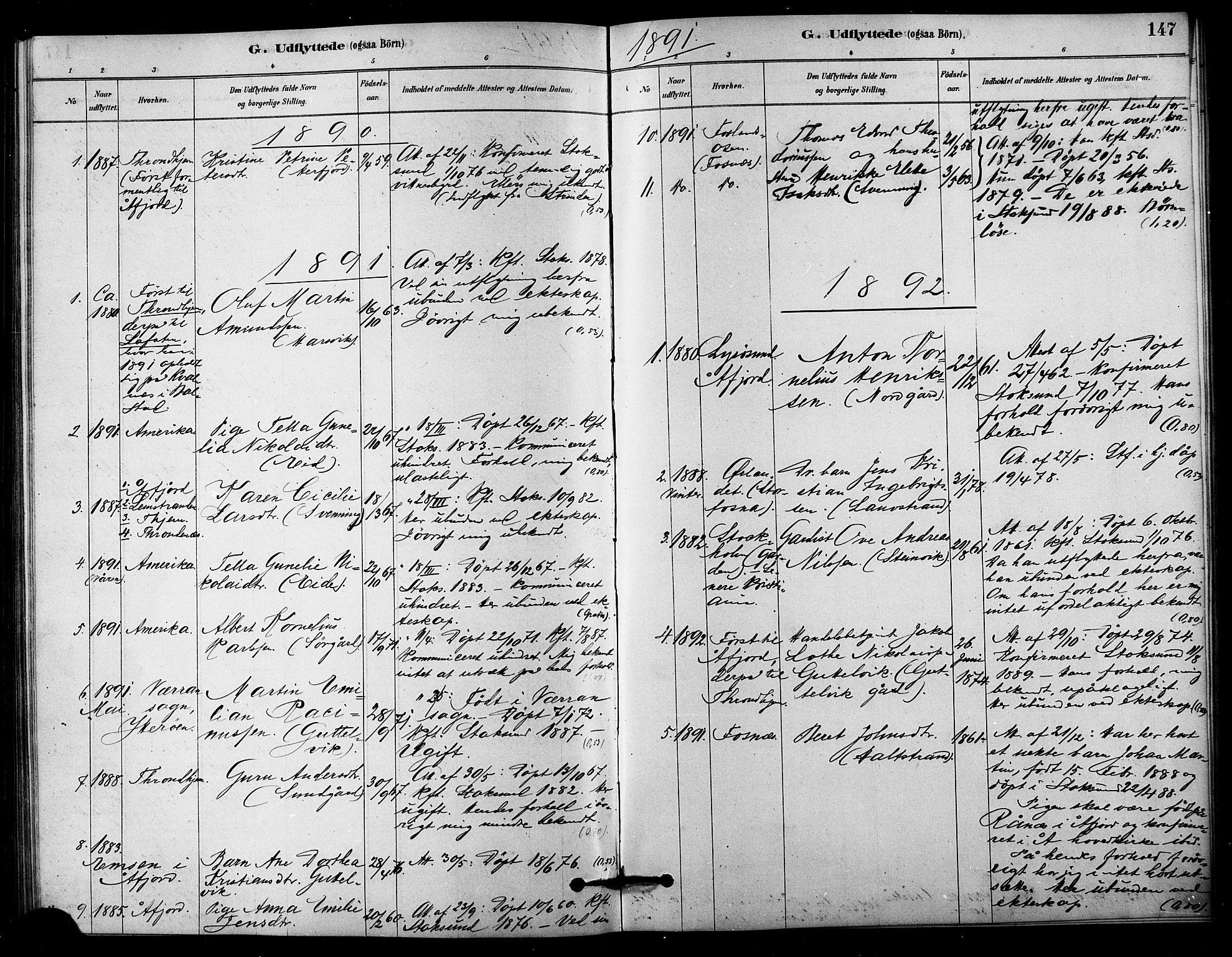 SAT, Ministerialprotokoller, klokkerbøker og fødselsregistre - Sør-Trøndelag, 656/L0692: Ministerialbok nr. 656A01, 1879-1893, s. 147
