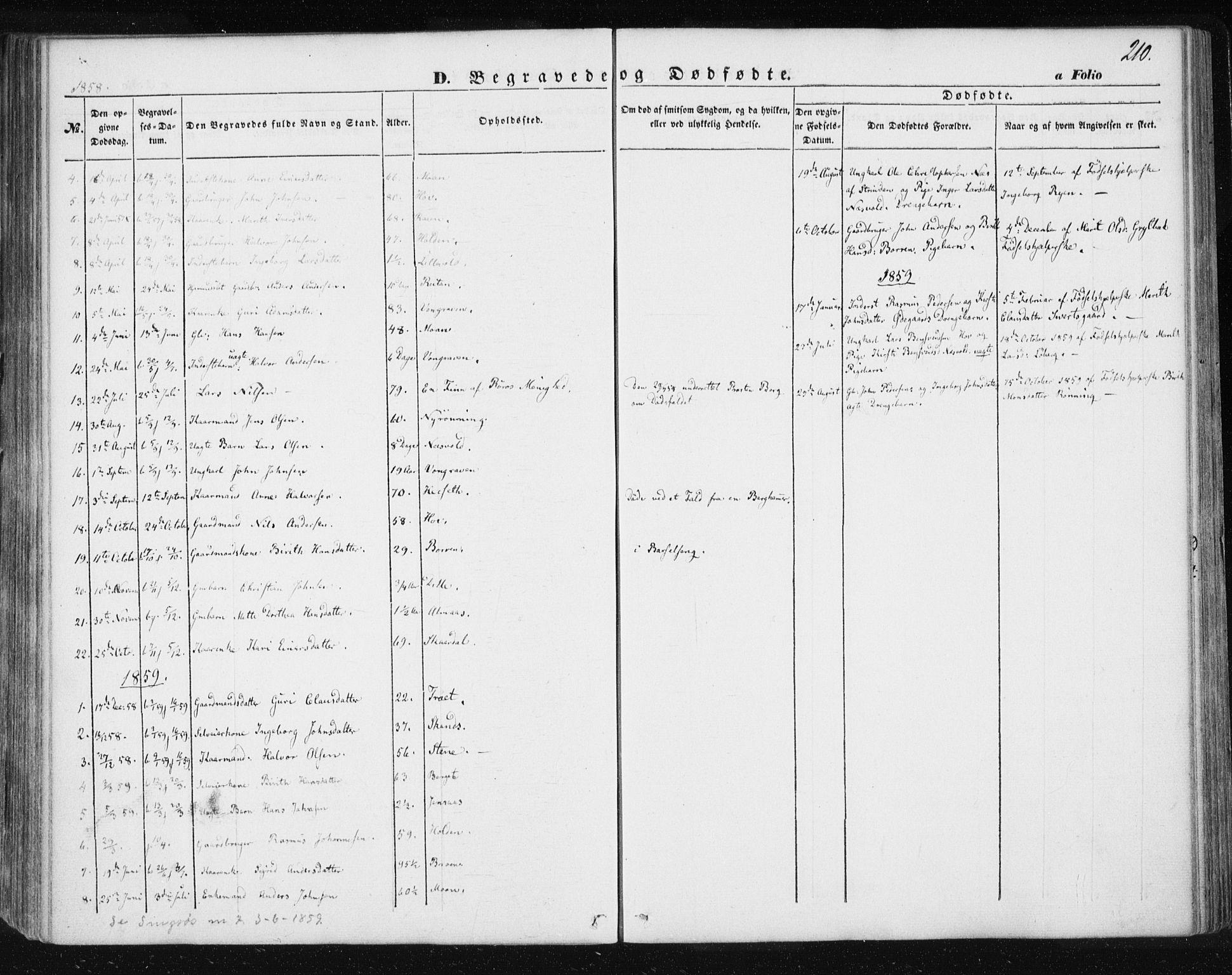 SAT, Ministerialprotokoller, klokkerbøker og fødselsregistre - Sør-Trøndelag, 685/L0965: Ministerialbok nr. 685A06 /3, 1846-1859, s. 210