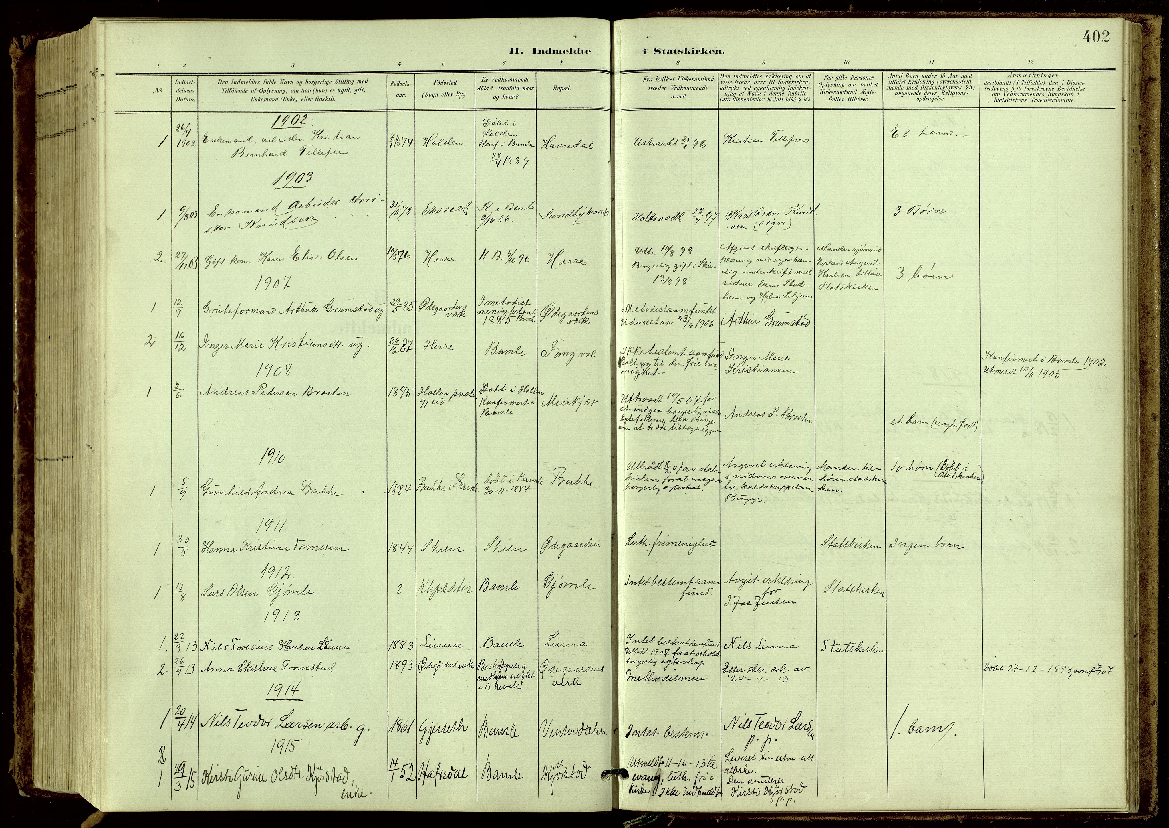 SAKO, Bamble kirkebøker, G/Ga/L0010: Klokkerbok nr. I 10, 1901-1919, s. 402