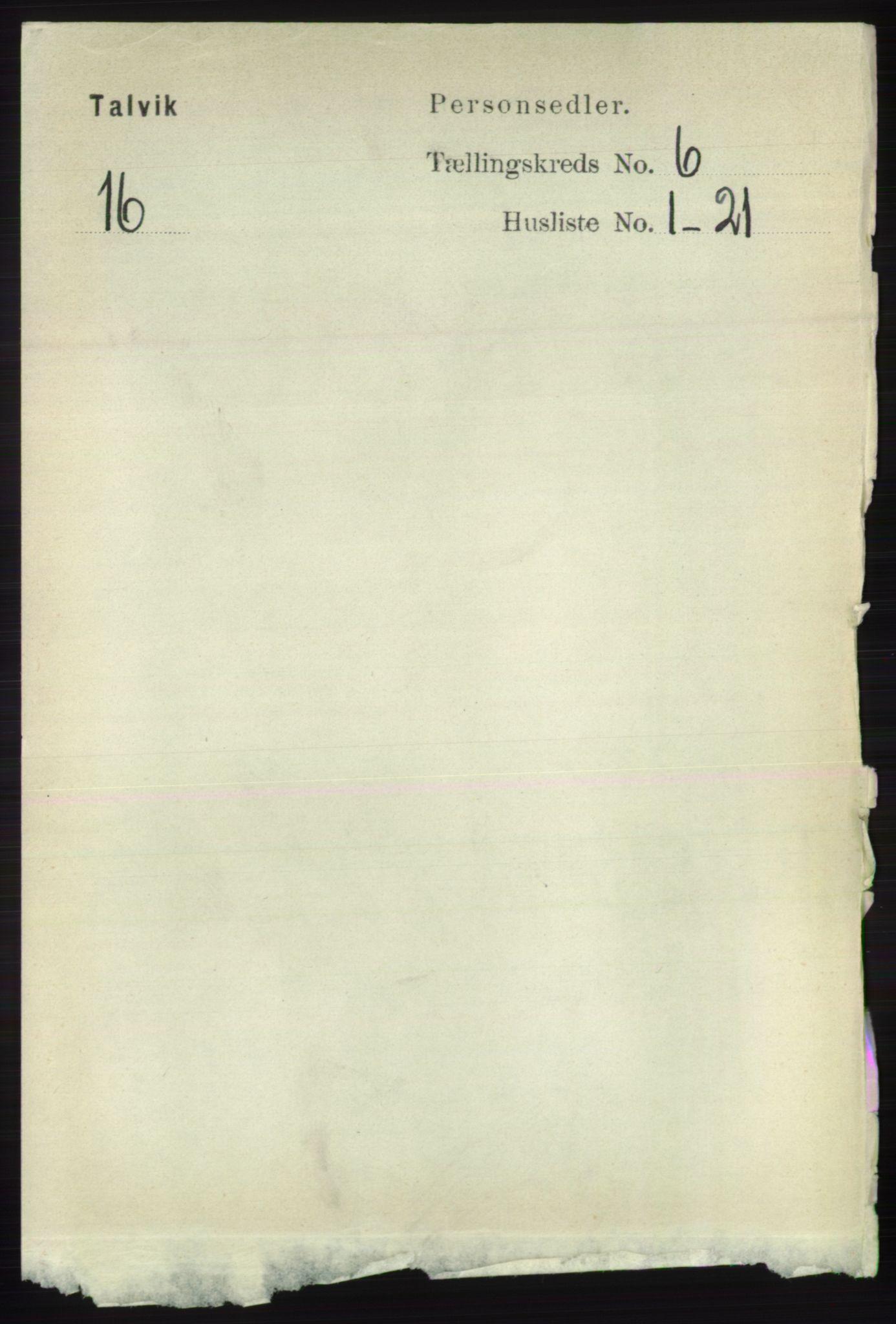RA, Folketelling 1891 for 2013 Talvik herred, 1891, s. 1614